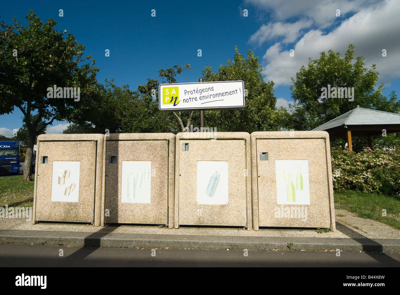 Waste recycling bins at an autoroute service area France - Stock Image