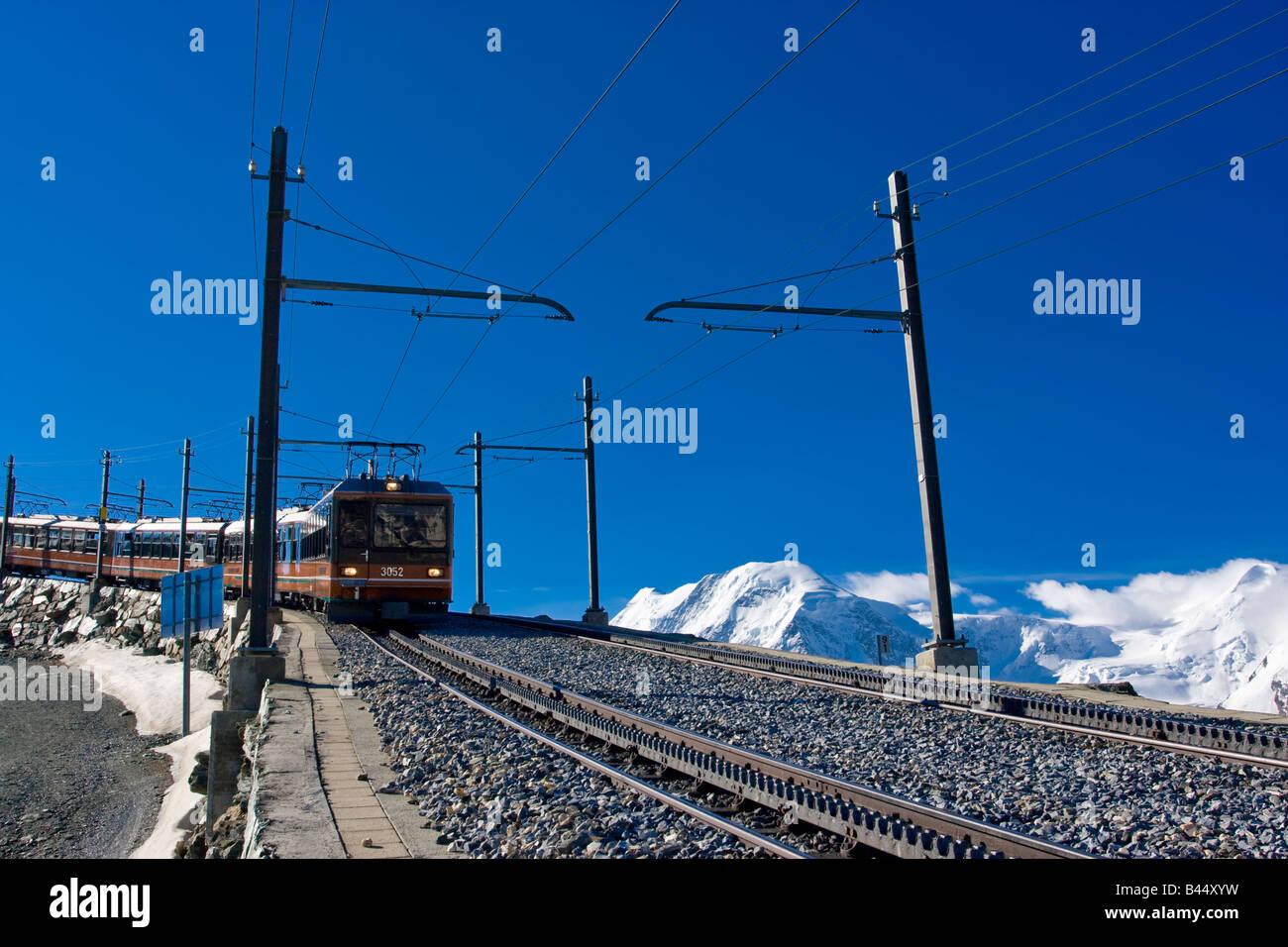 Gornergrat cogwheel Train on its way down, Zermatt - Stock Image
