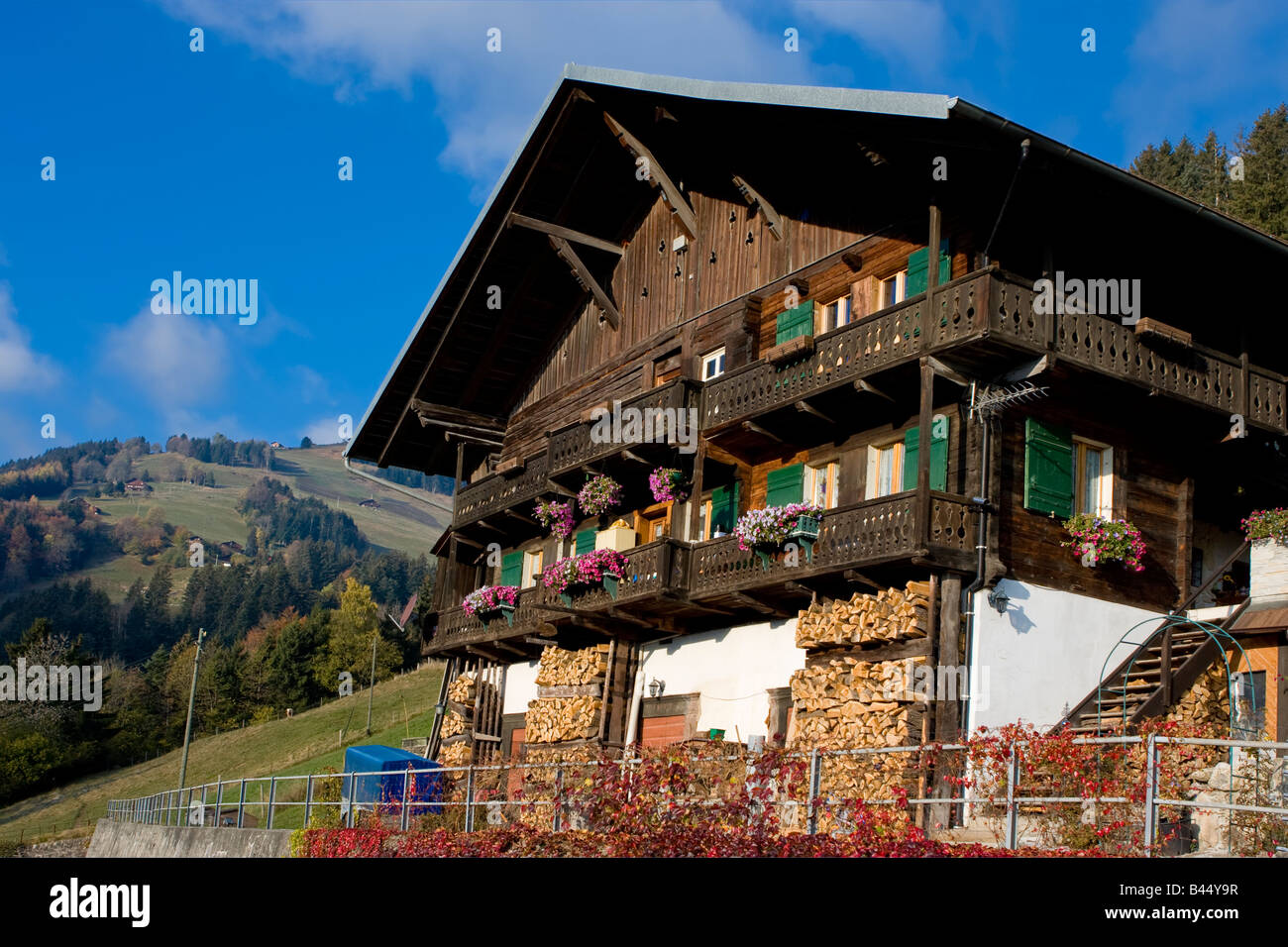 Chalet wooden house in swiss Valais / Wallis - Stock Image