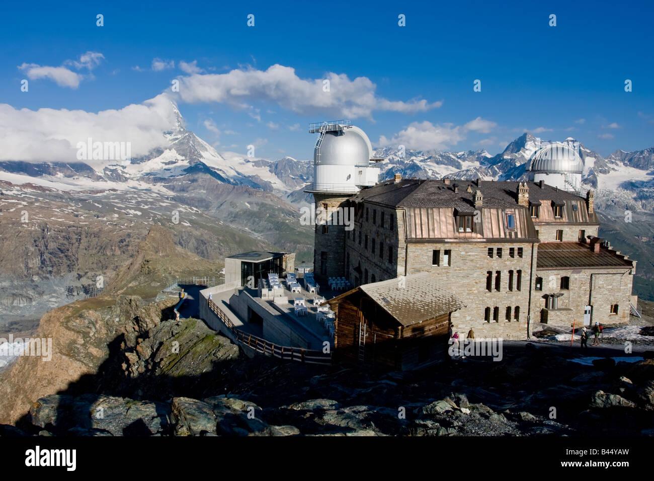Gornergrat Hotel and mountain panorama - Stock Image