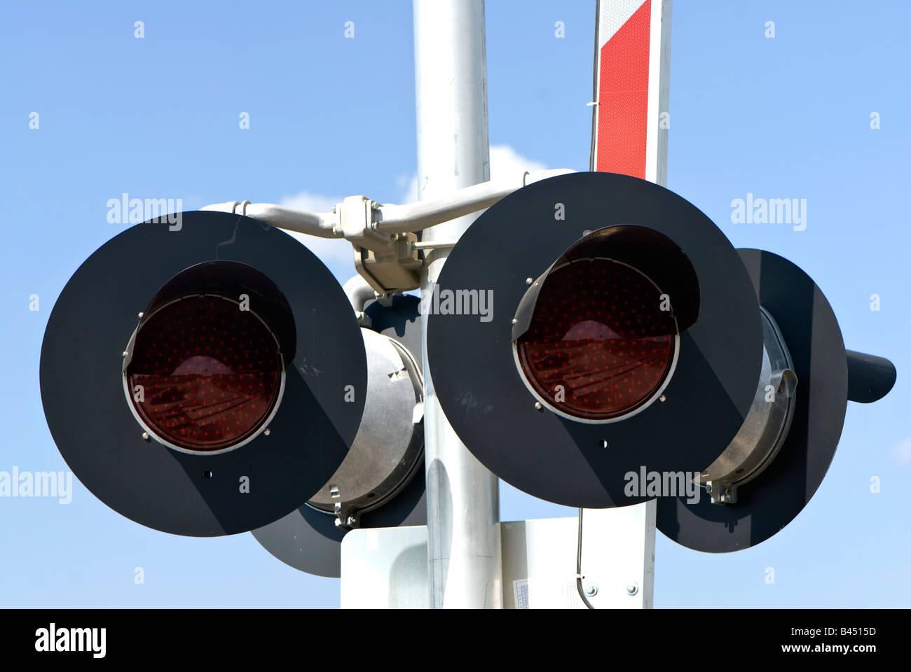 Train Crossing lights on the railroad Stock Photo: 19779689