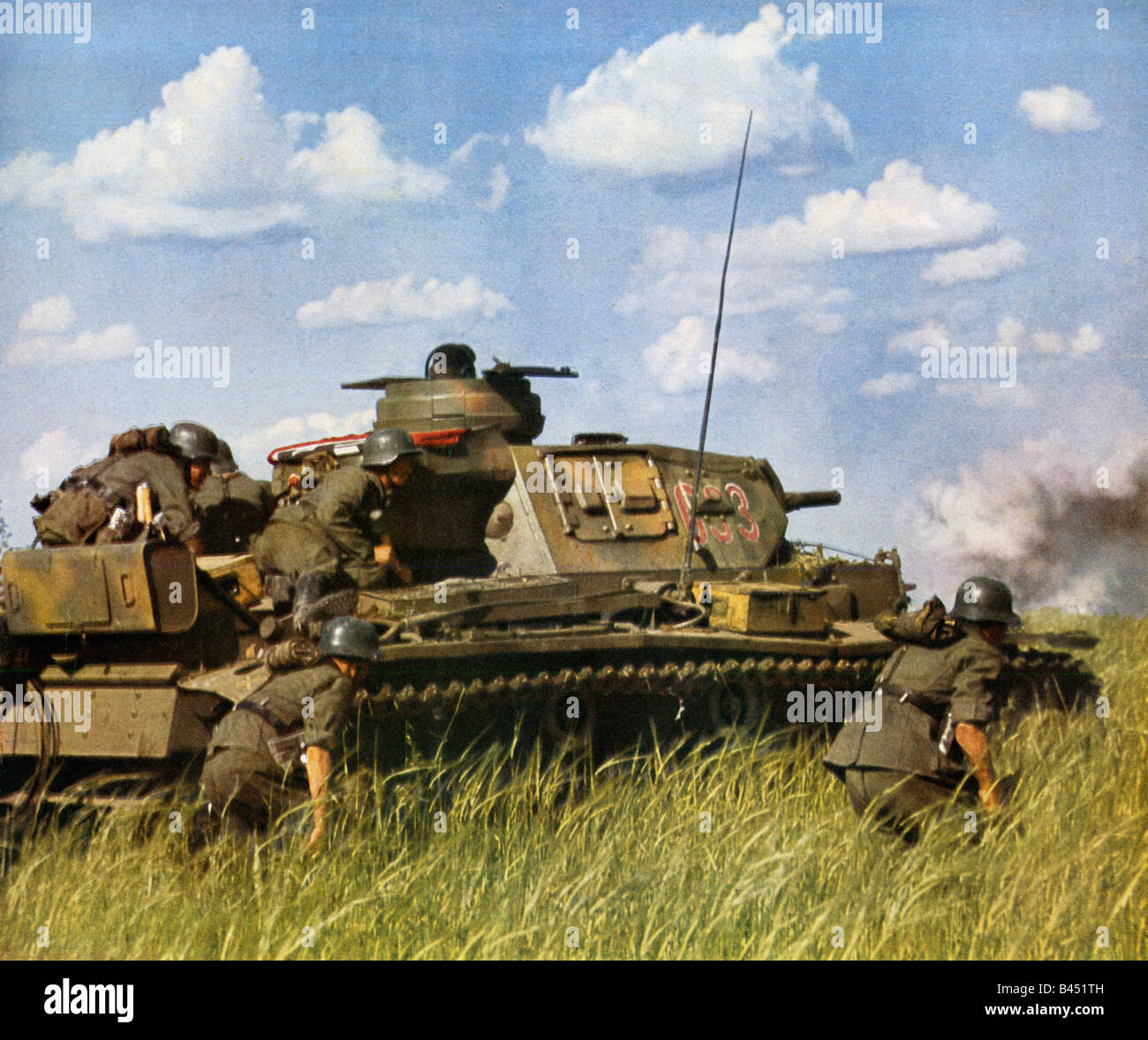 Wehrmacht Panzer and Infantry Attack tank and grenadiers on the Eastern Front in WW II early in the Russian campaign Stock Photo