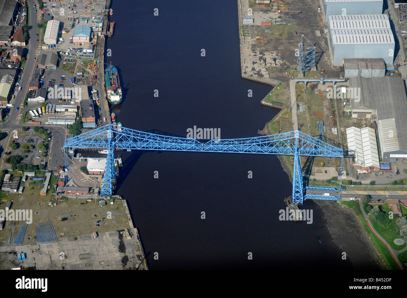 River Tees and the Transporter Bridge, from the air, Teeside, Northern England - Stock Image