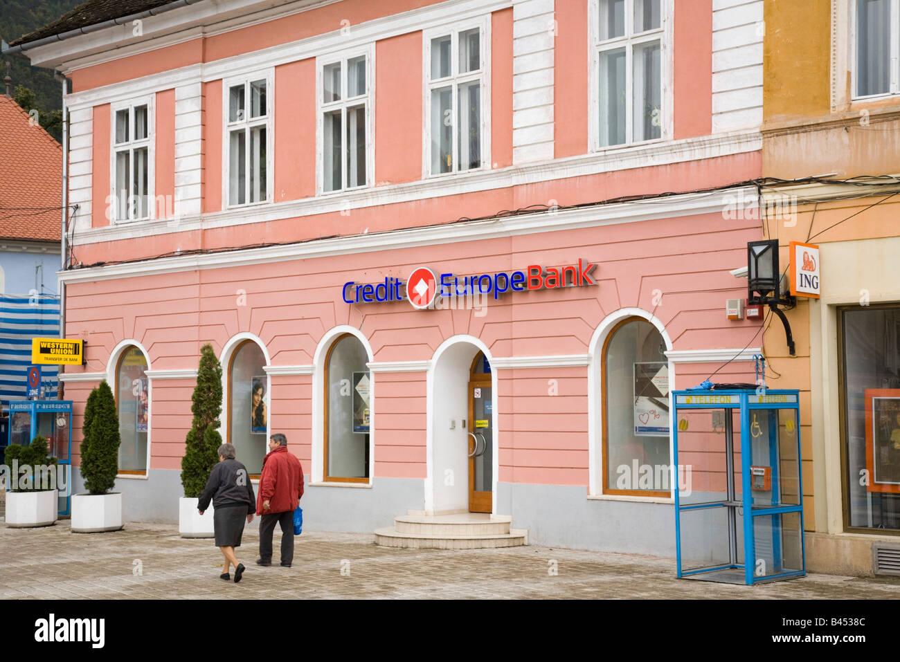 Brasov Transylvania Romania Europe Credit Europe Bank retail banking branch building exterior in historic city - Stock Image