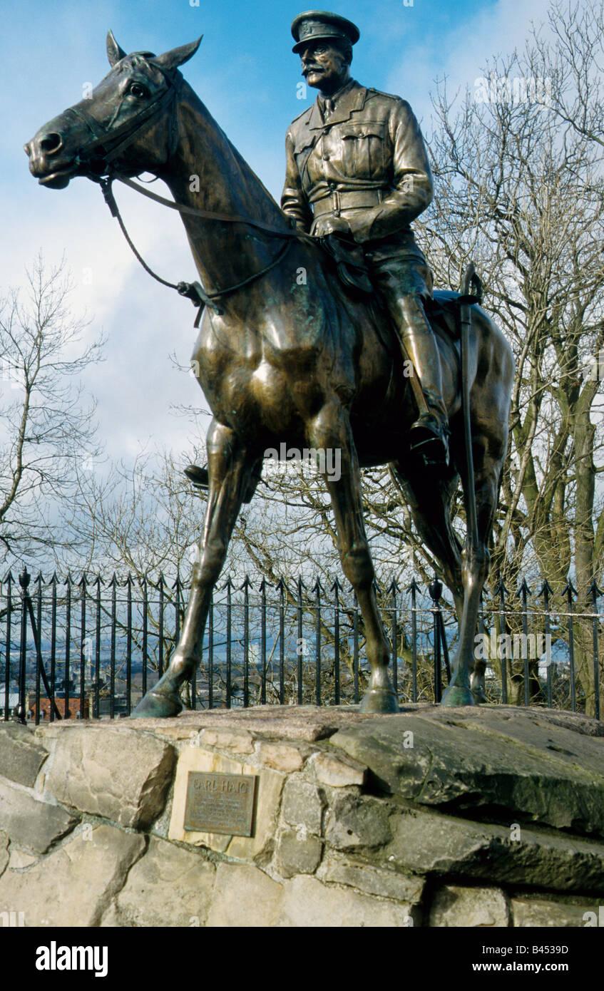 Equestrian Statue of Earl Haig, Edinburgh, Scotlan Stock Photo