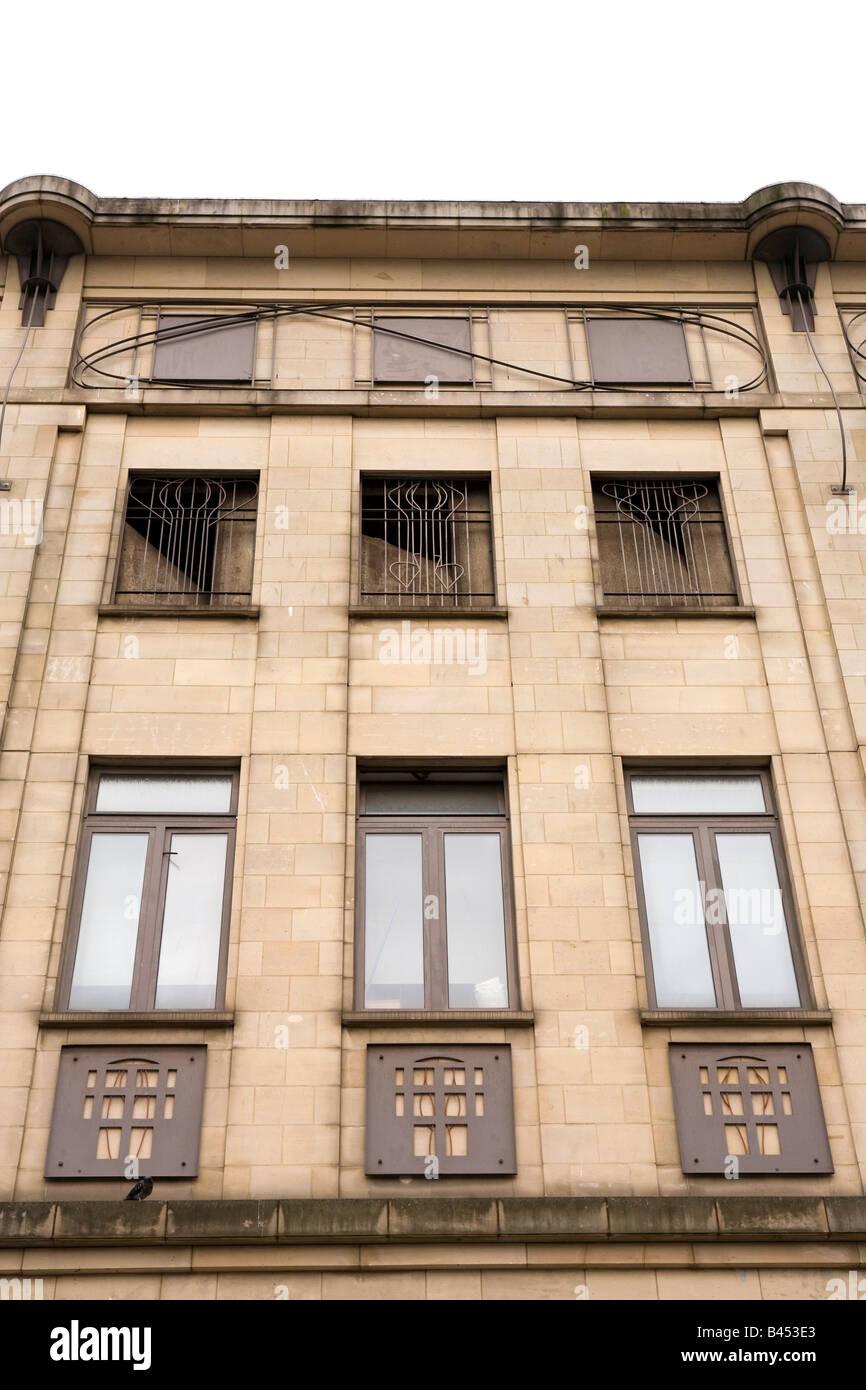 UK Scotland Glasgow Renfield Street detail of Charles Rennie Mackintosh inspired building front - Stock Image