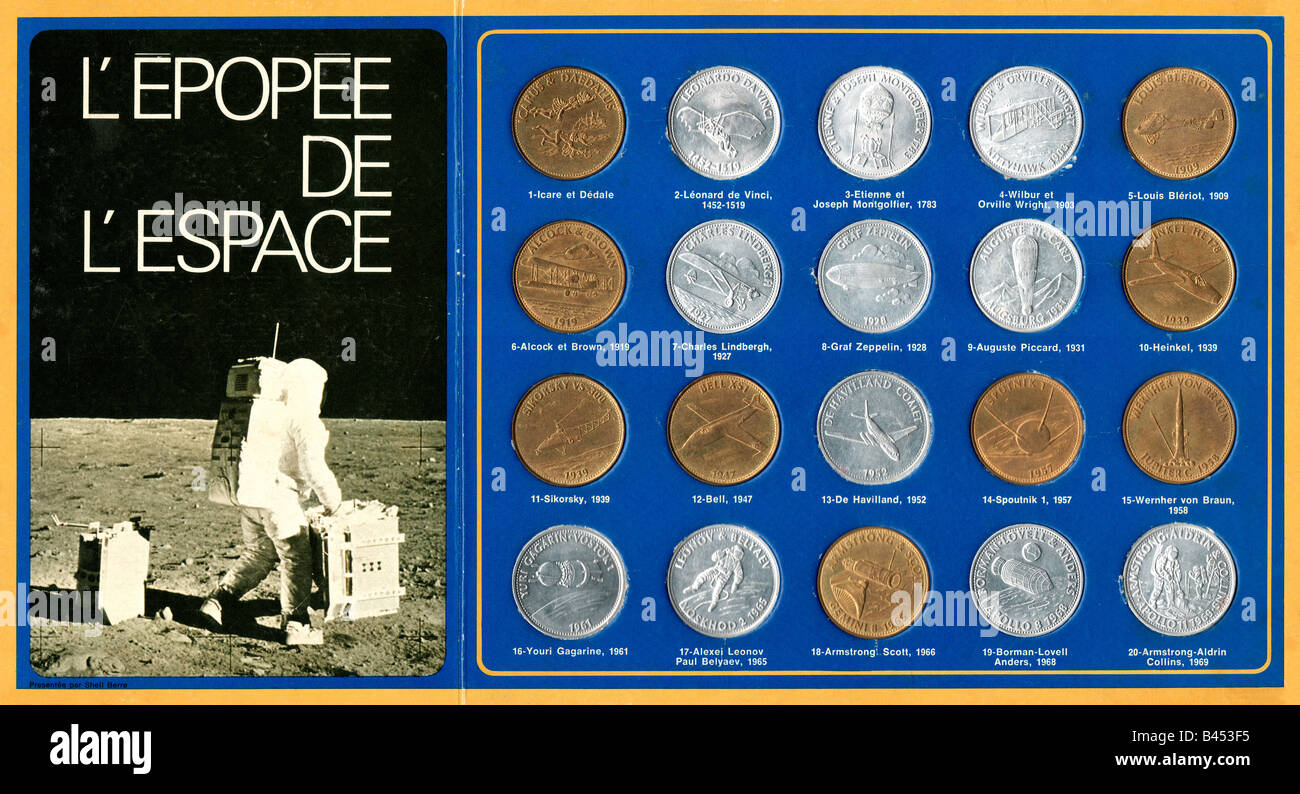 L'Epopee de L'espace coin collection given away free at shell Petrol stations - Stock Image
