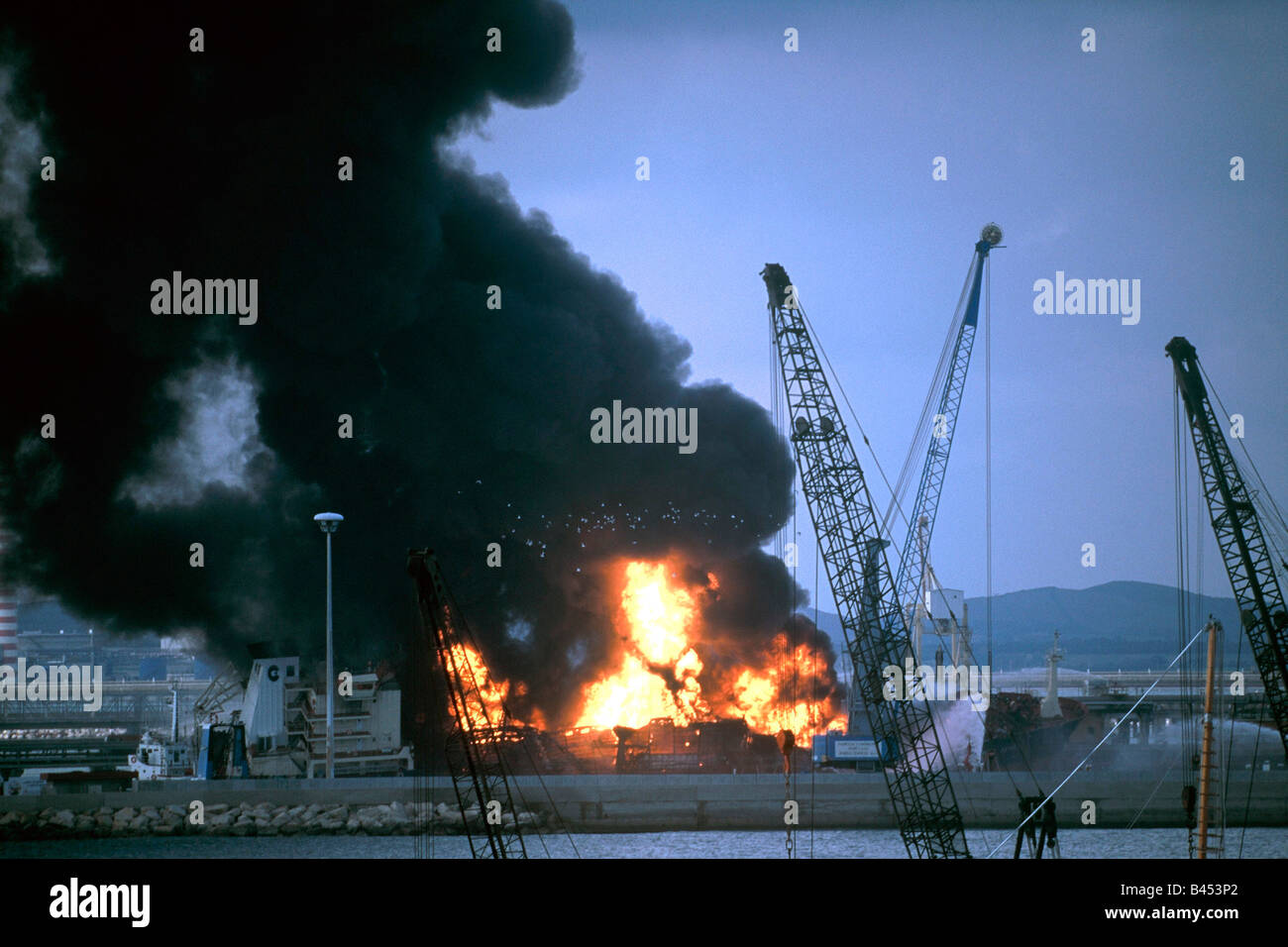 Explosion on the gas cargo Panam Serena this ship was several days burning - Stock Image