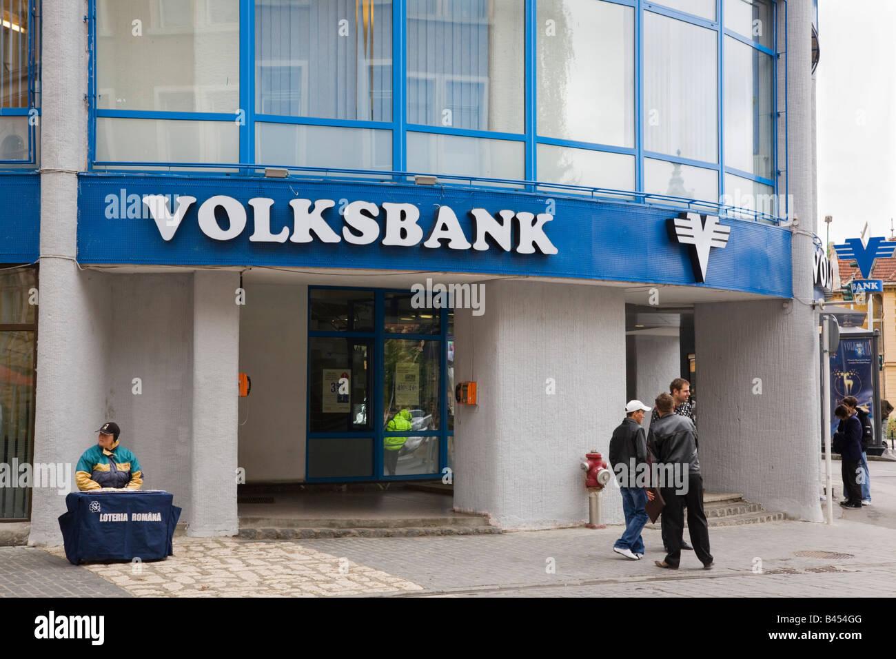 Romania Europe VolksBank retail banking branch building exterior - Stock Image