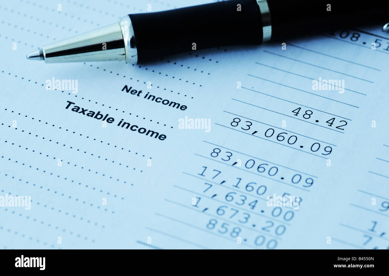 Income Tax - Calculation - Stock Image
