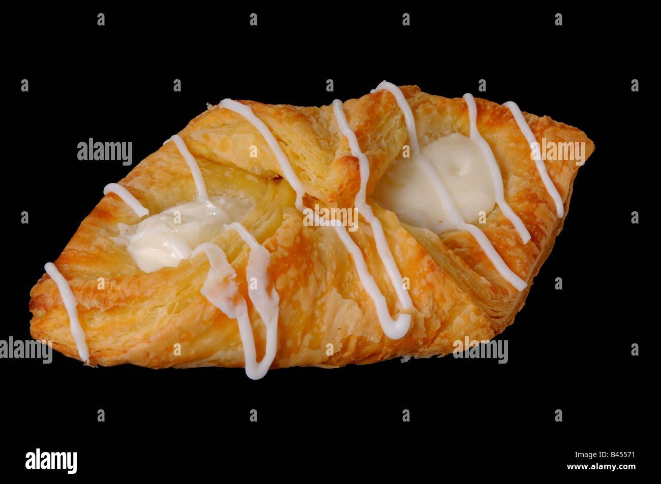 Cream cheese danish pastry isolate on black - Stock Image