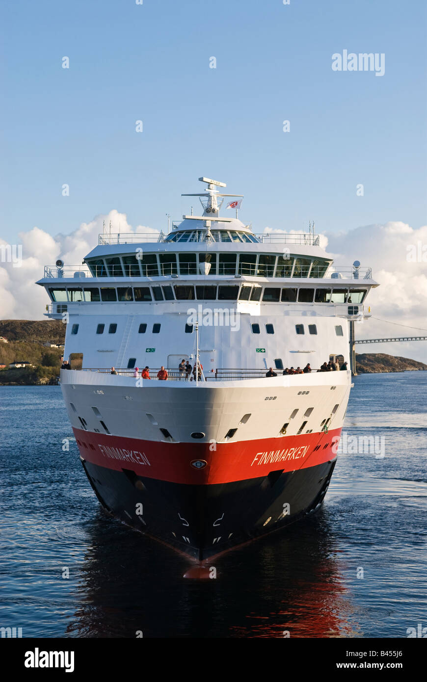 Hurtigruten, Norwegian coastal ferry arrives at port in the village of Rørvik, Nord-Trøndelag, Norway - Stock Image