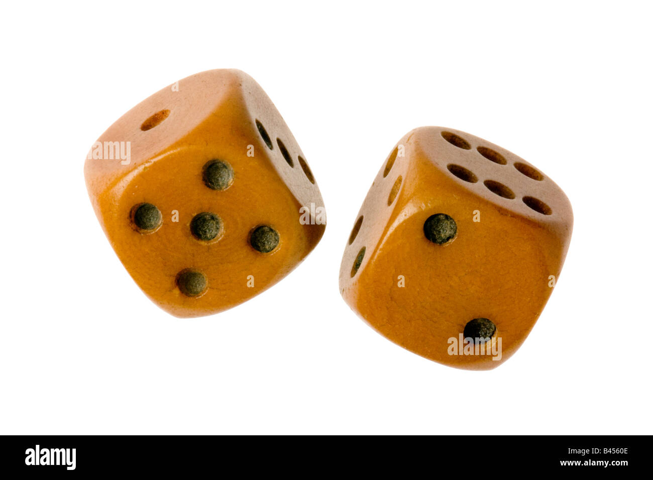 old pair of dice on white - Stock Image