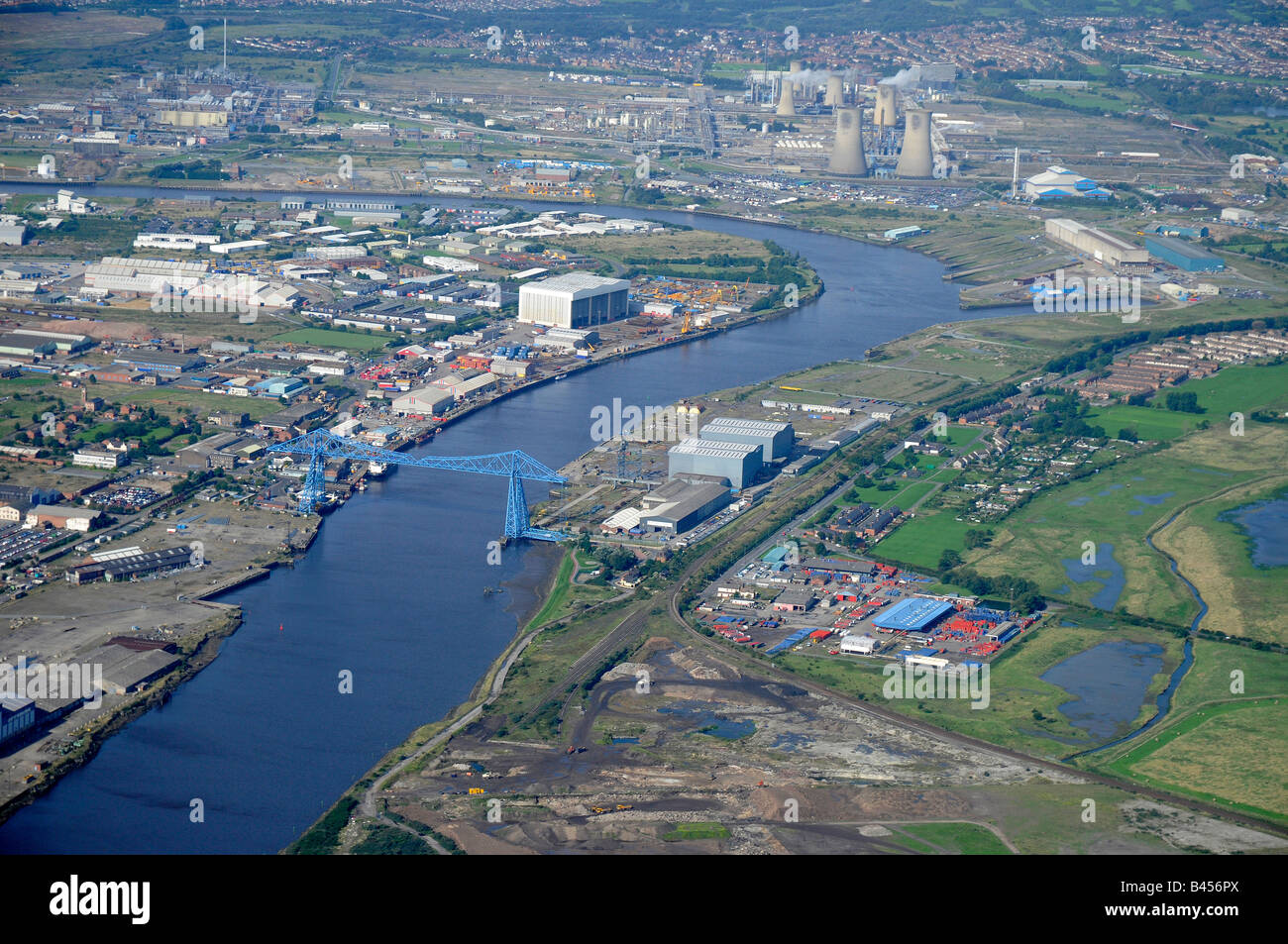 Middlesborough, River Tees and the Transporter Bridge, from the air, Teeside, Northern England - Stock Image