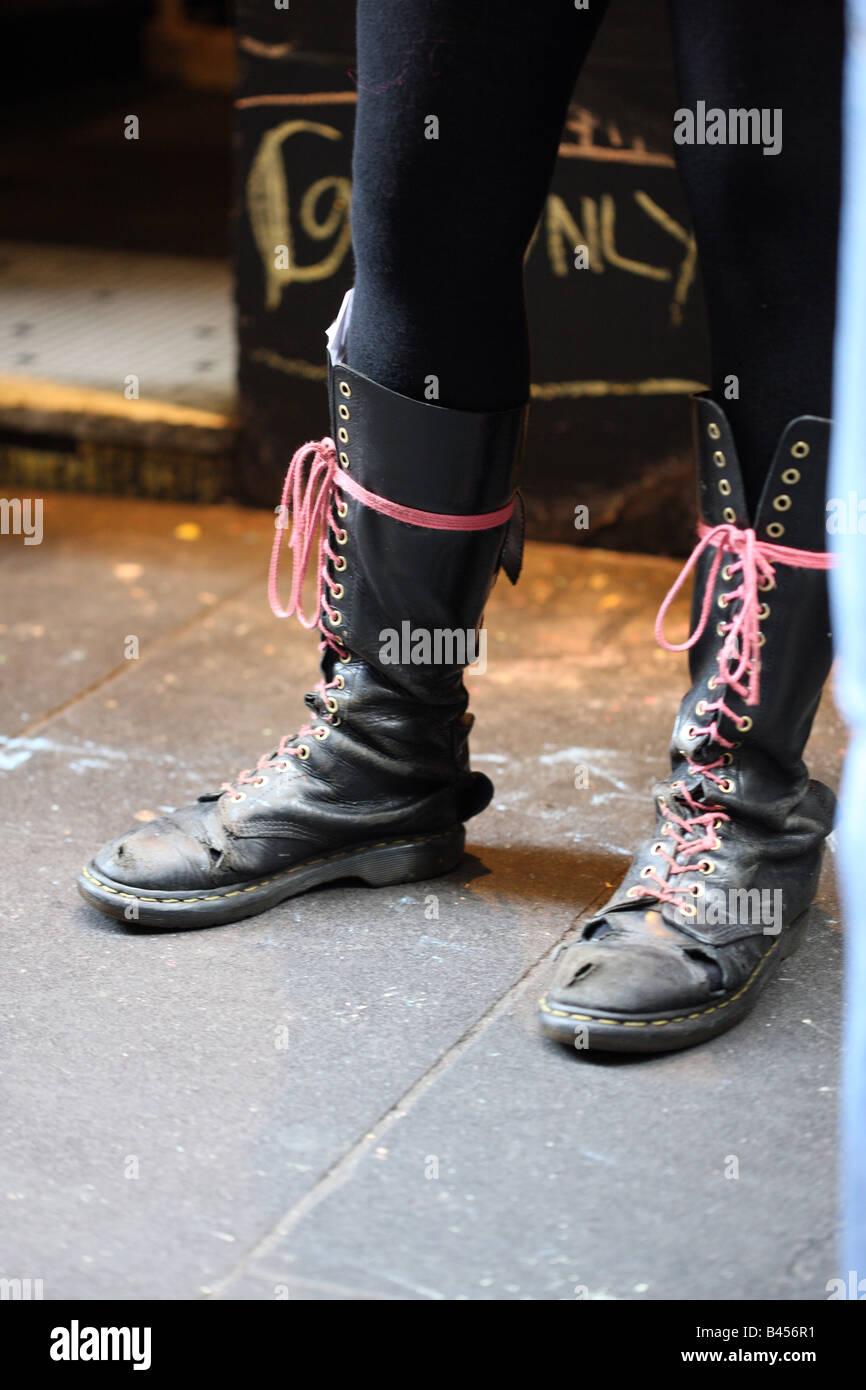 Doctor Marten boots, well worn. Stock Photo