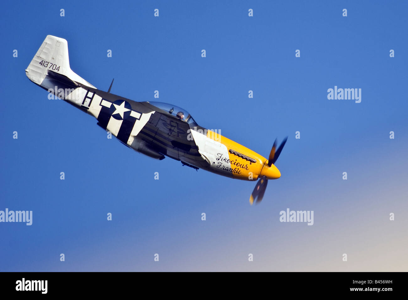"""P51 Mustang """"Ferocious Frankie"""" aircraft display at the Goodwood Revival Sussex United Kingdom Great Britain England Stock Photo"""