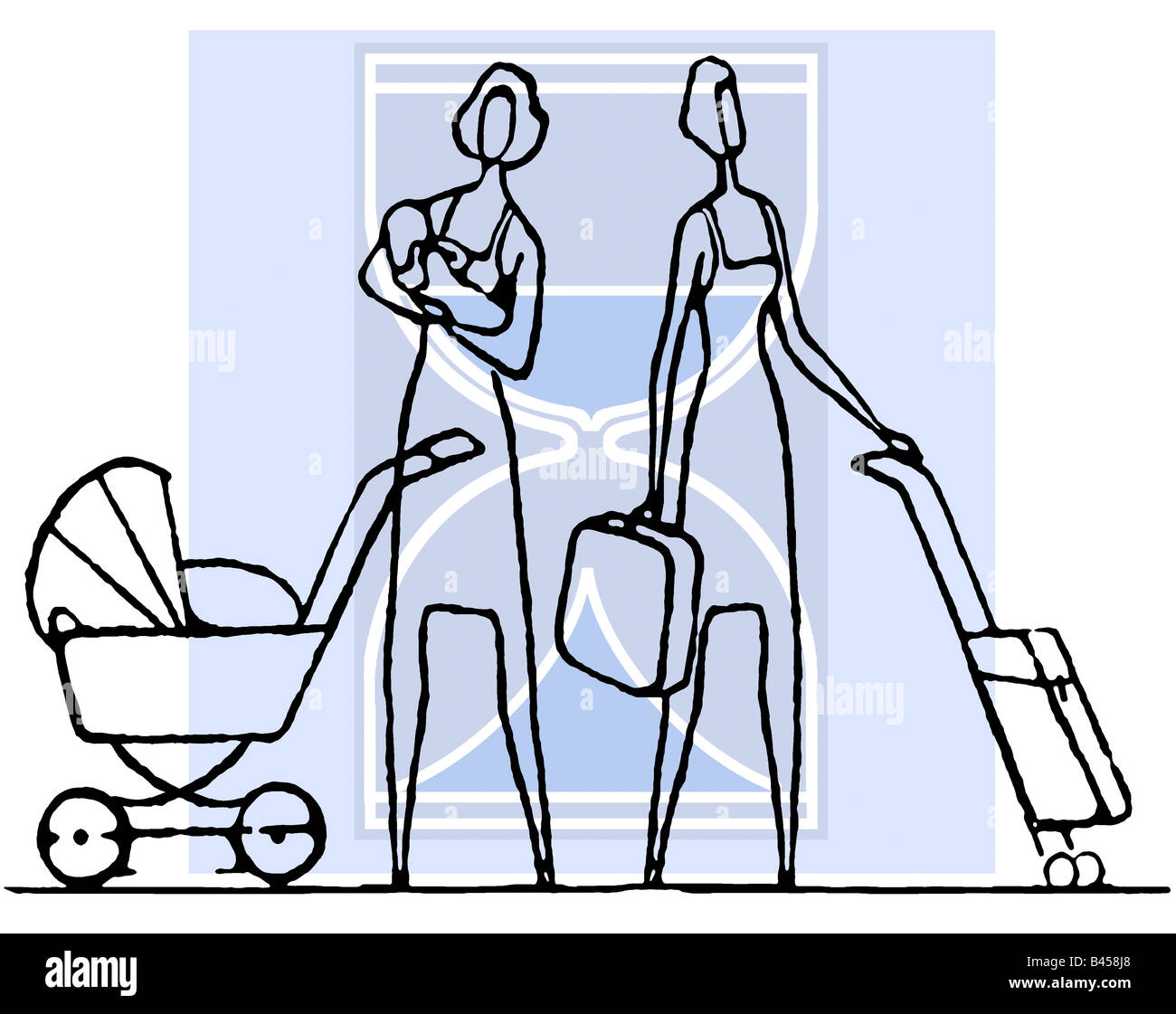 Woman with baby carriage - Stock Image