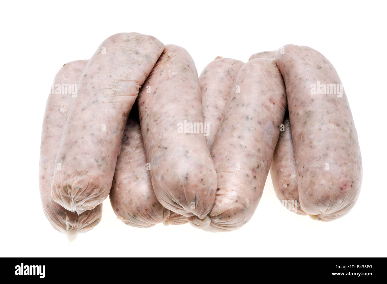 Eight links of Lincolnshire sausages - Stock Image