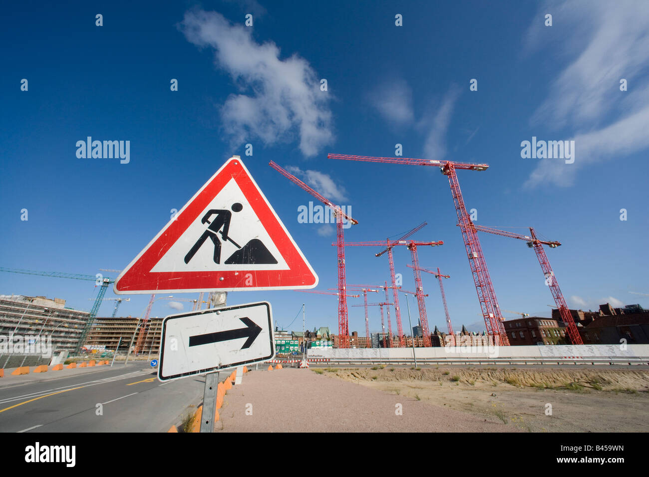 Numerous construction cranes on the large construction site of the HafenCity Harbour City - Stock Image