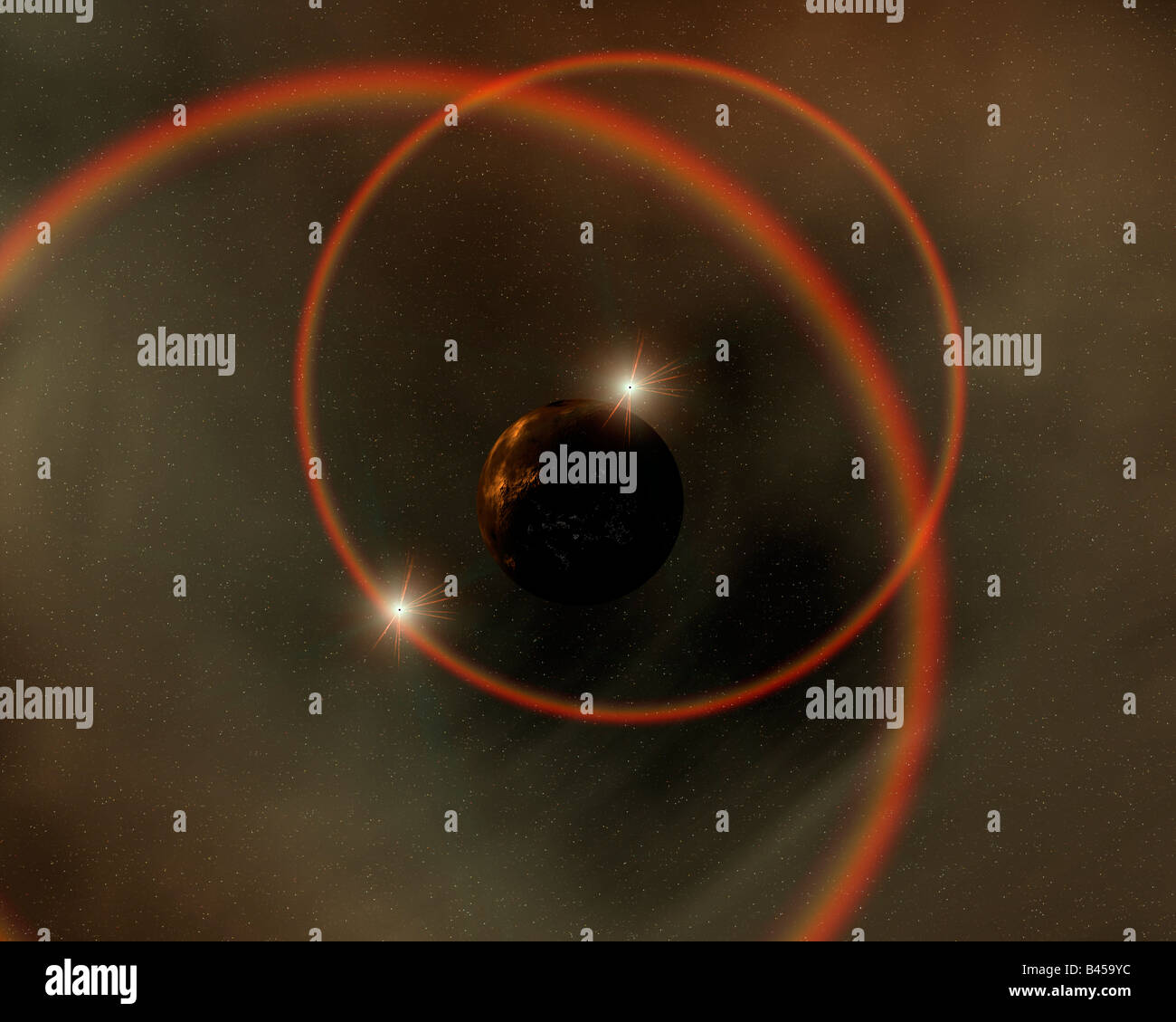 Binary Star System - Stock Image