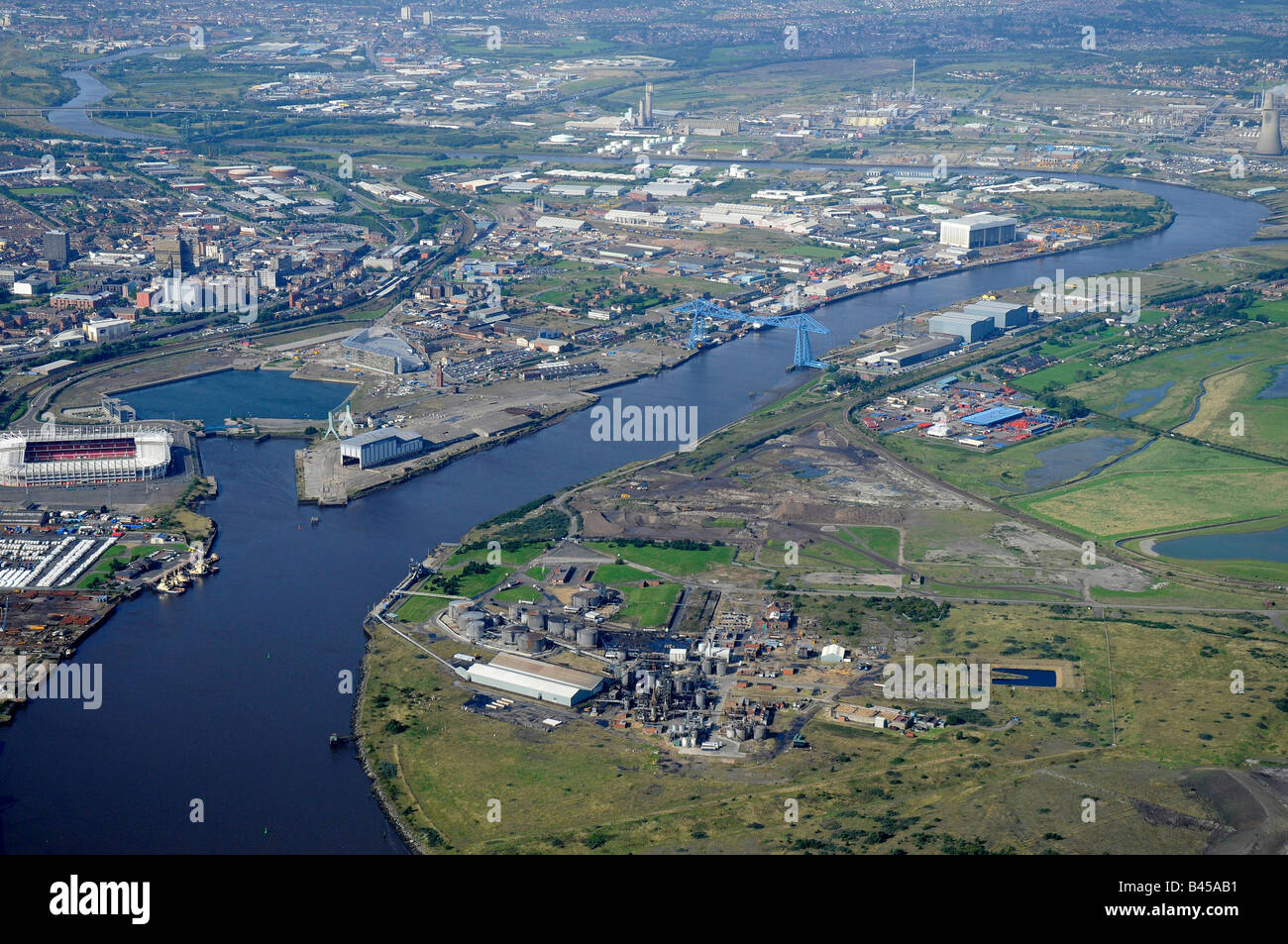 Middlesborough, the Riverside Stadium and River Tees, from the air, Teeside, Northern England - Stock Image