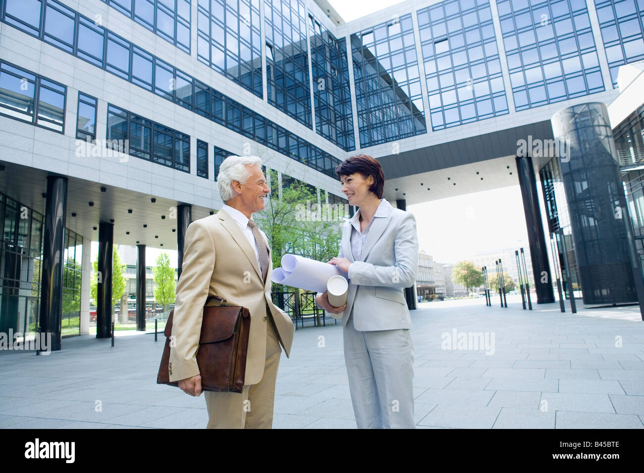 Germany, Baden Württemberg, Stuttgart, Business man and Business woman - Stock Image