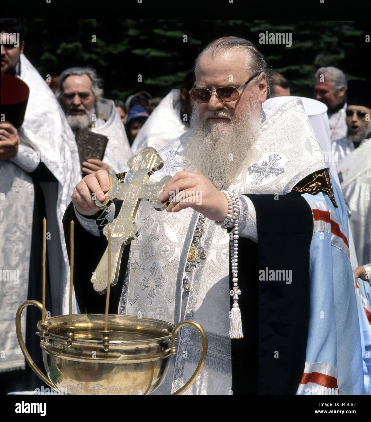 geography / travel, Russia, religion, russian orthodox church, metropolitan of Krasnodar and Kuban (Isidor) at consecration, - Stock Image