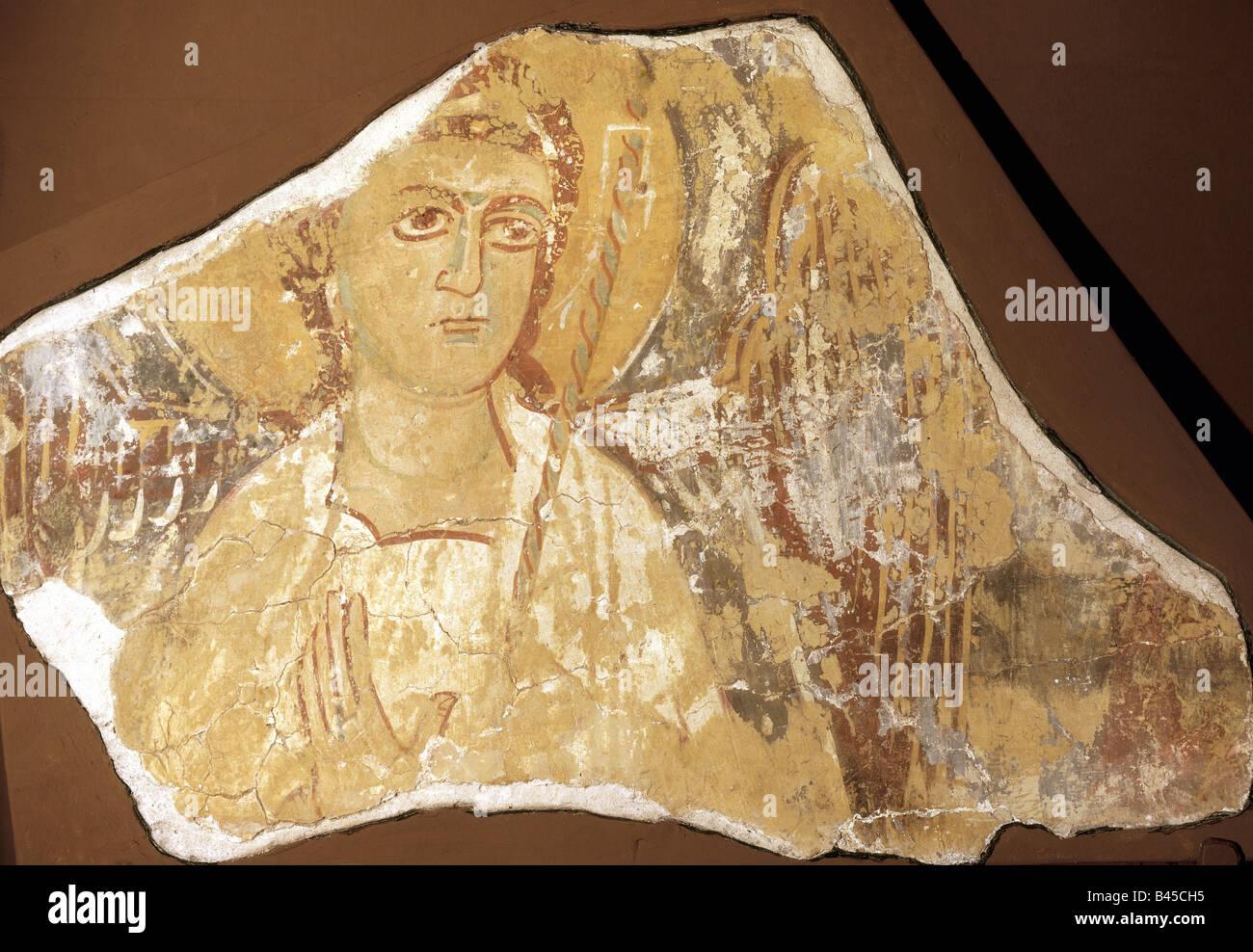 fine arts - Byzantine art, painting, fresco depicting archangel Michael, apsis, minster Mar Jakub near Qara, 12th - Stock Image