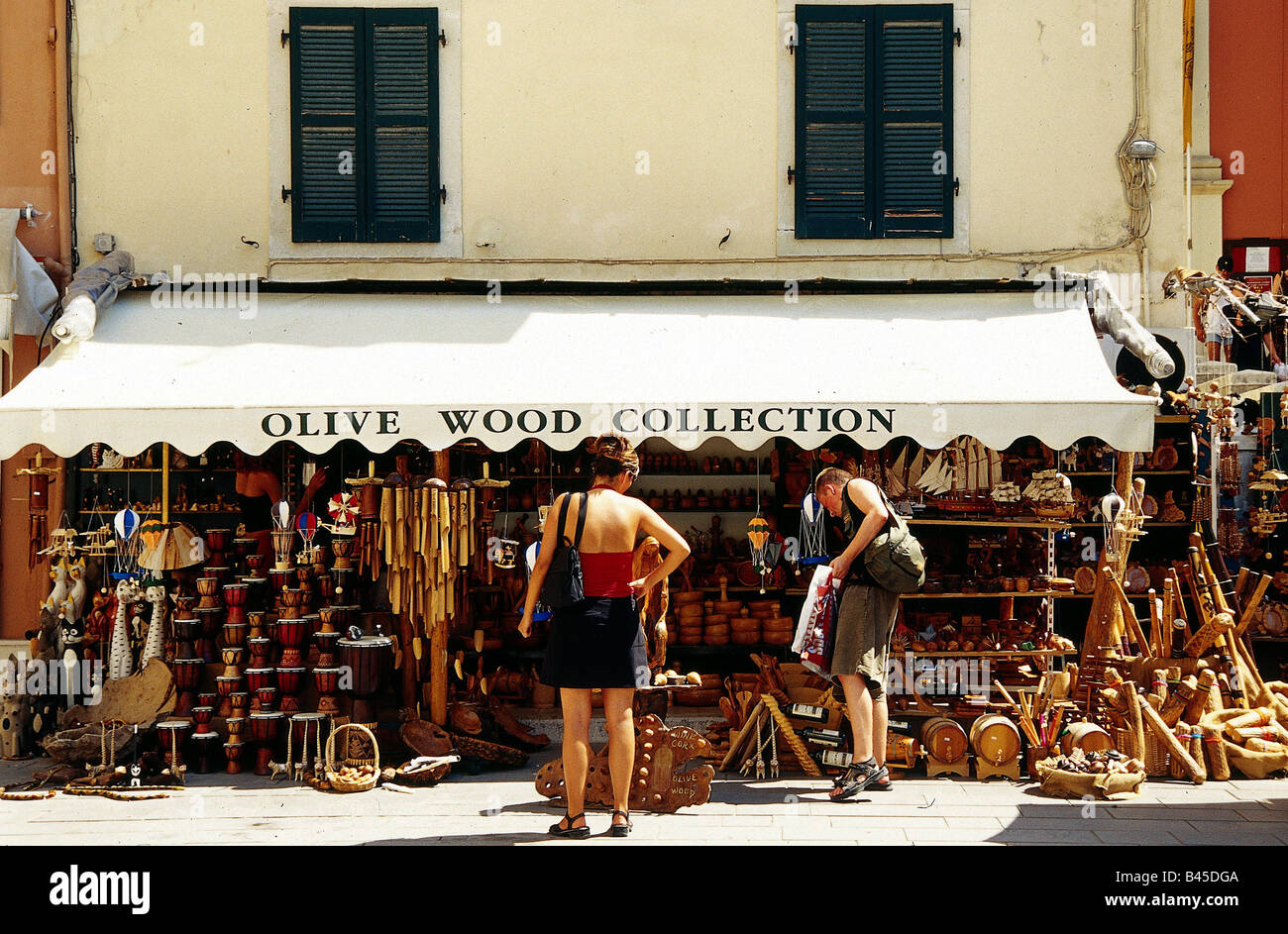 geography / travel, Greece, skilled crafts, shop with manual work made of olive wood, Kerkira, island Corfu, lumber, - Stock Image