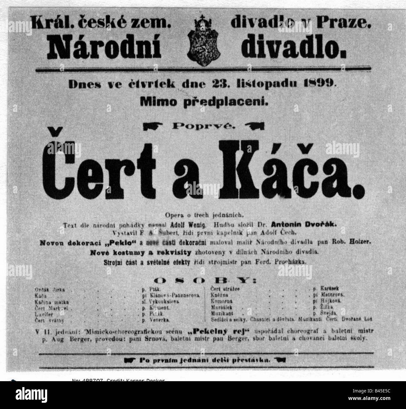 Dvorak, Antonin, 8.9.1841 - 1.5.1904, Czech composer, poster announcing the premiere of the opera 'The Devil - Stock Image