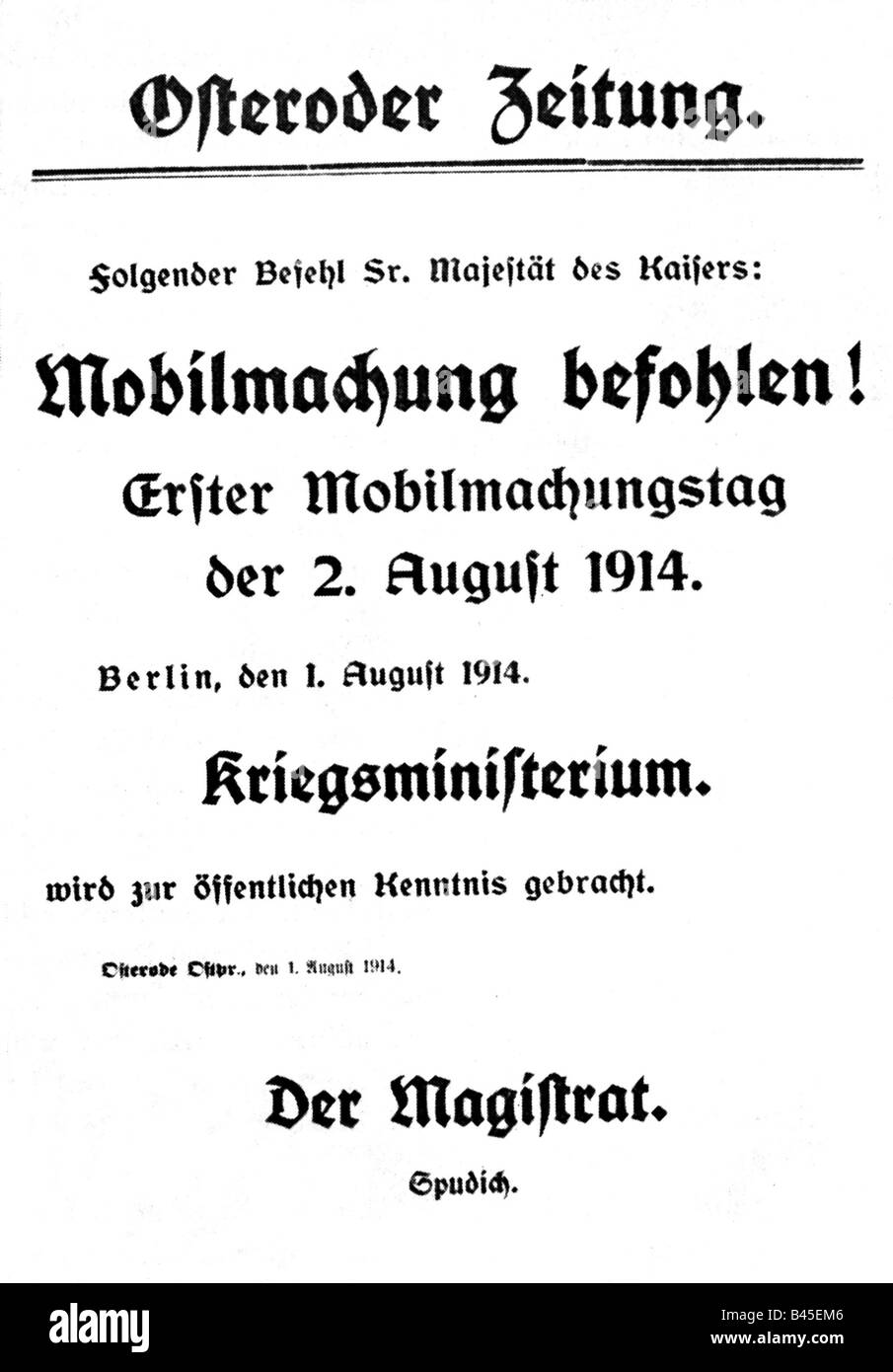 "events, First World War / WWI, outbreak of the war, ""Mobilmachung befohlen!"" (Mobilisation ordered!), special bulletin, Stock Photo"