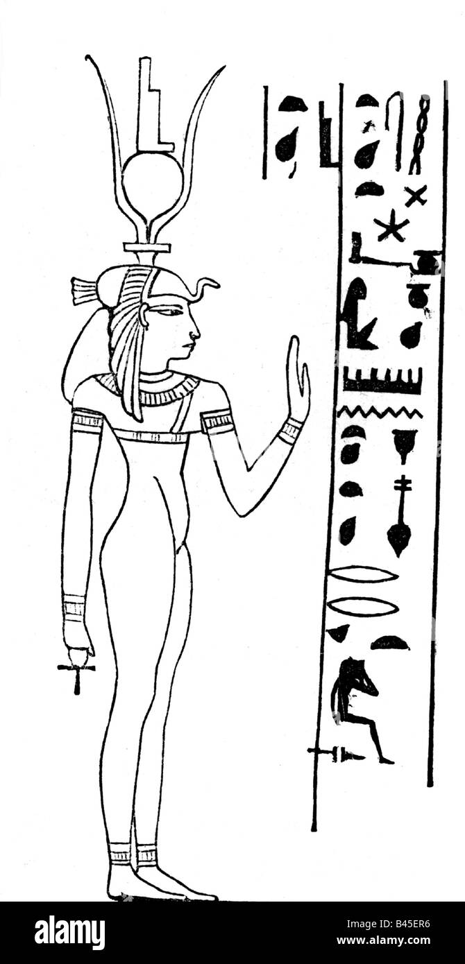 Isis, Egyptian goddess, (mother), drawing, after Egyptian relief, Egypt, mythology, religion, , Additional-Rights - Stock Image