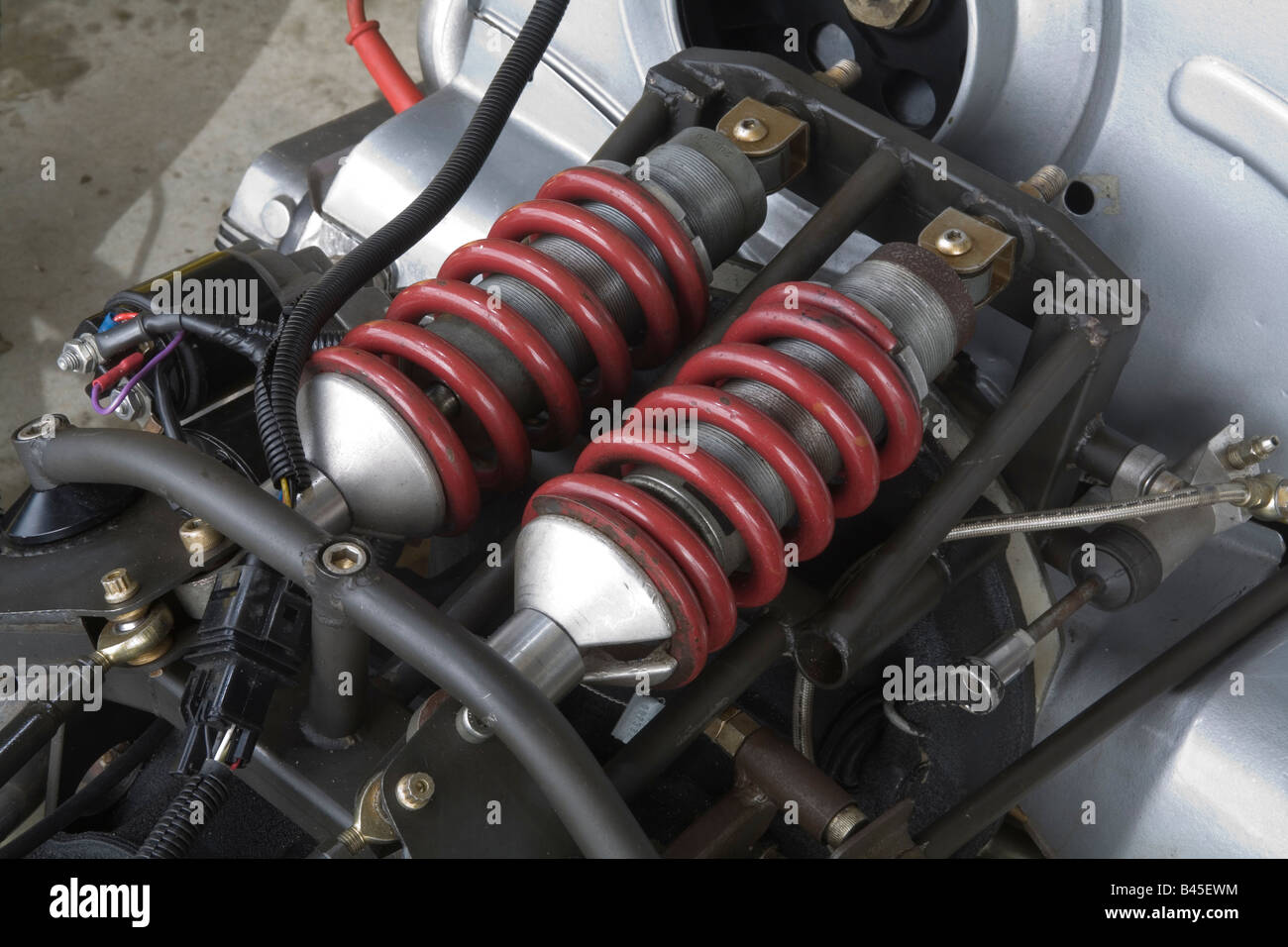 Suspension set up with coil over shock absorbers on an open wheel club level motorsport race car - Stock Image