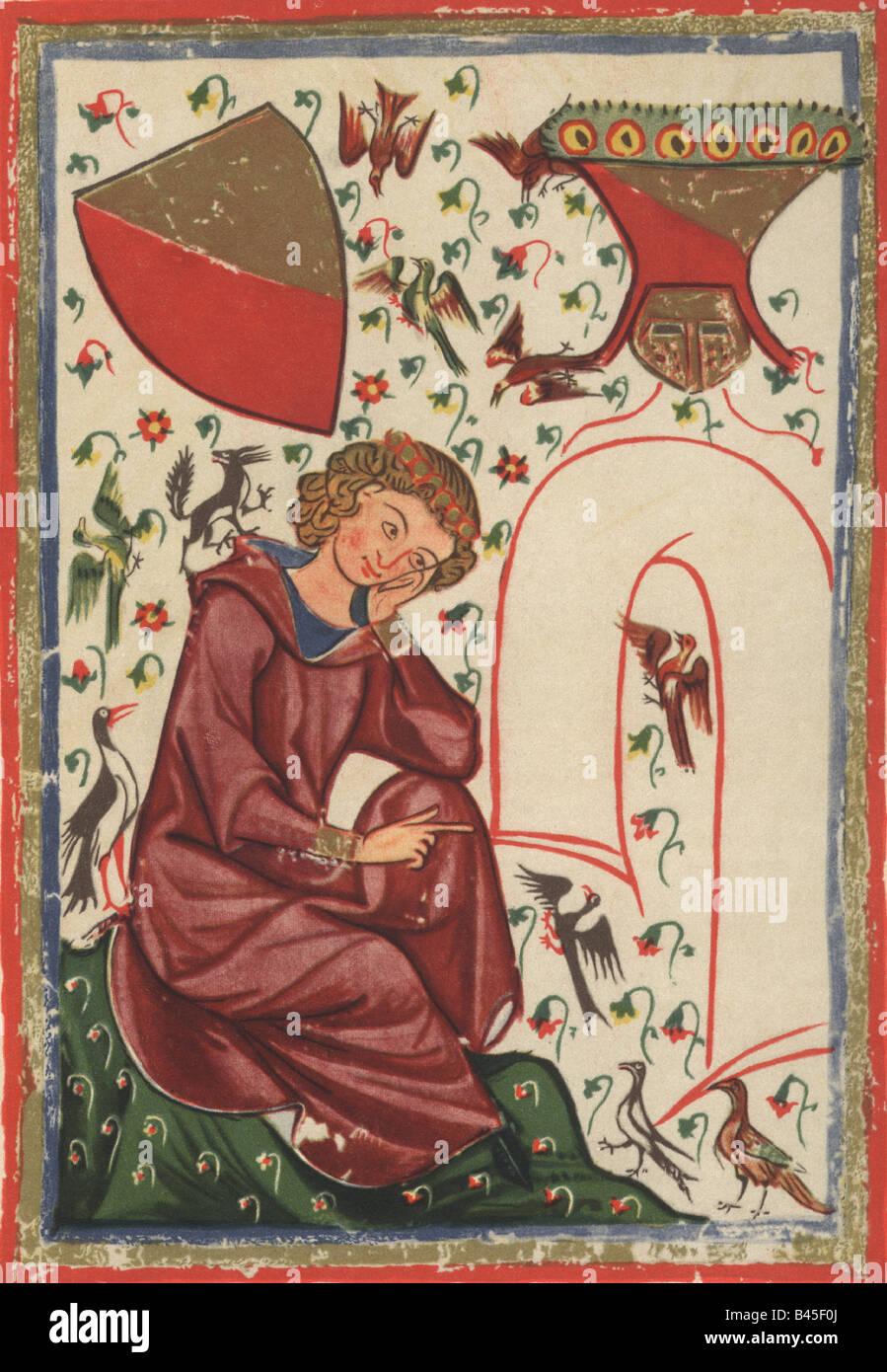 Heinrich of Veldeke, circa 1150 - circa 1200, flemish minstrel, miniature, Codex Manesse), Zurich, 1305 - 1340, - Stock Image