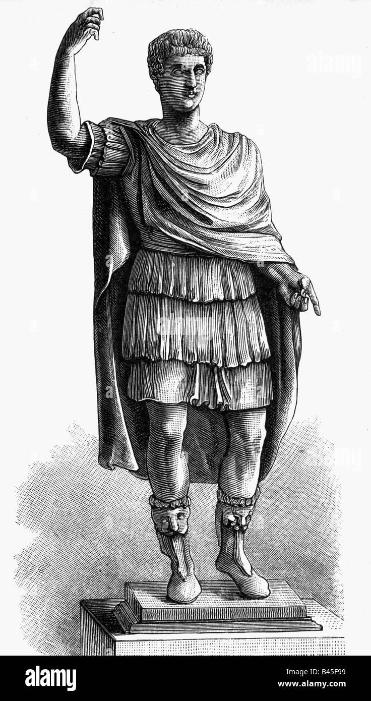 Caligula (Gaius Julius Caesar Germanicus) 12 BC - 24.1.41 BC, Roman Emperor 16.3.37 - 24.1.41, full length, wood - Stock Image