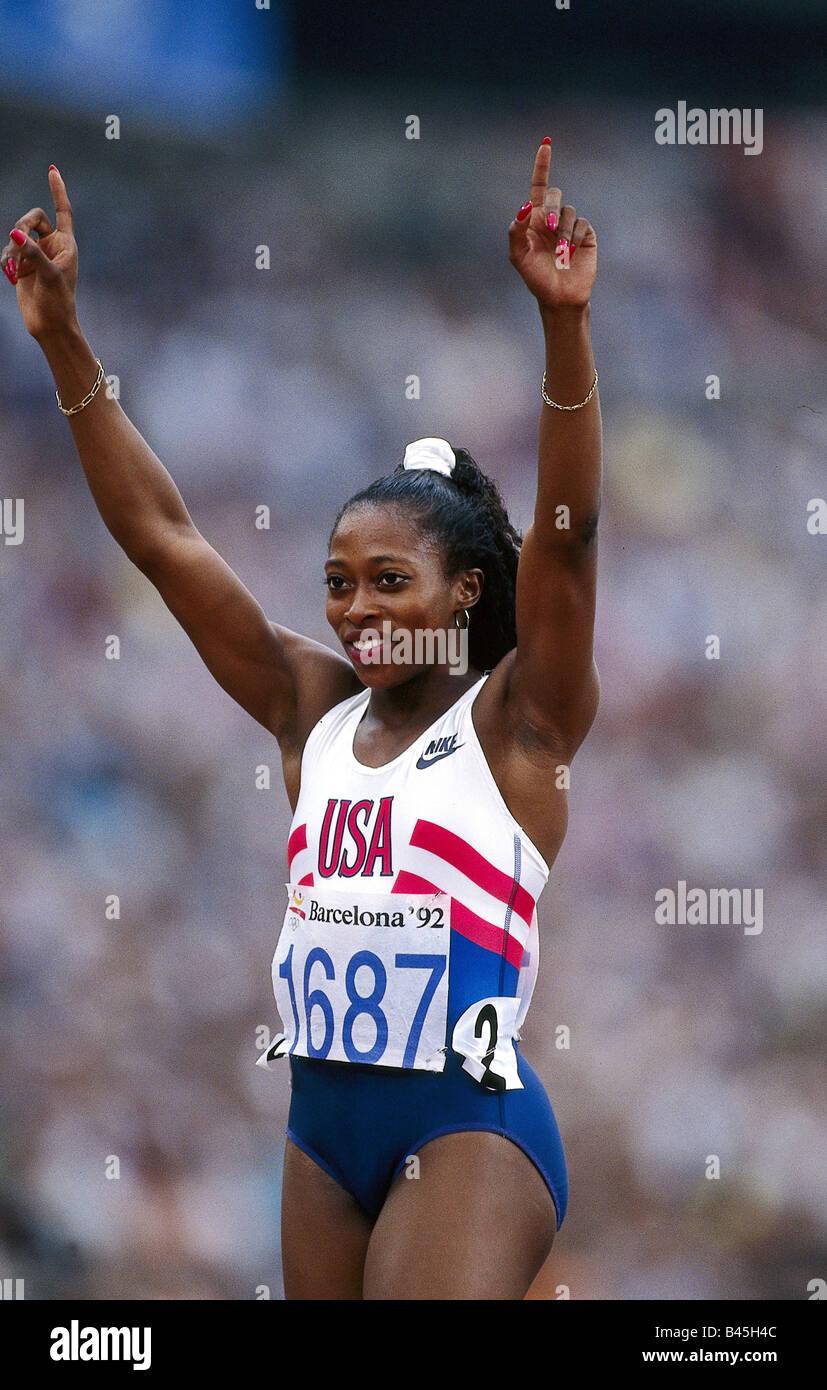 Devers, Yolanda Gail, * 19.11.1966, American athlete (athletics), half length, Olympic Games, Barcelona, 1992, Additional - Stock Image