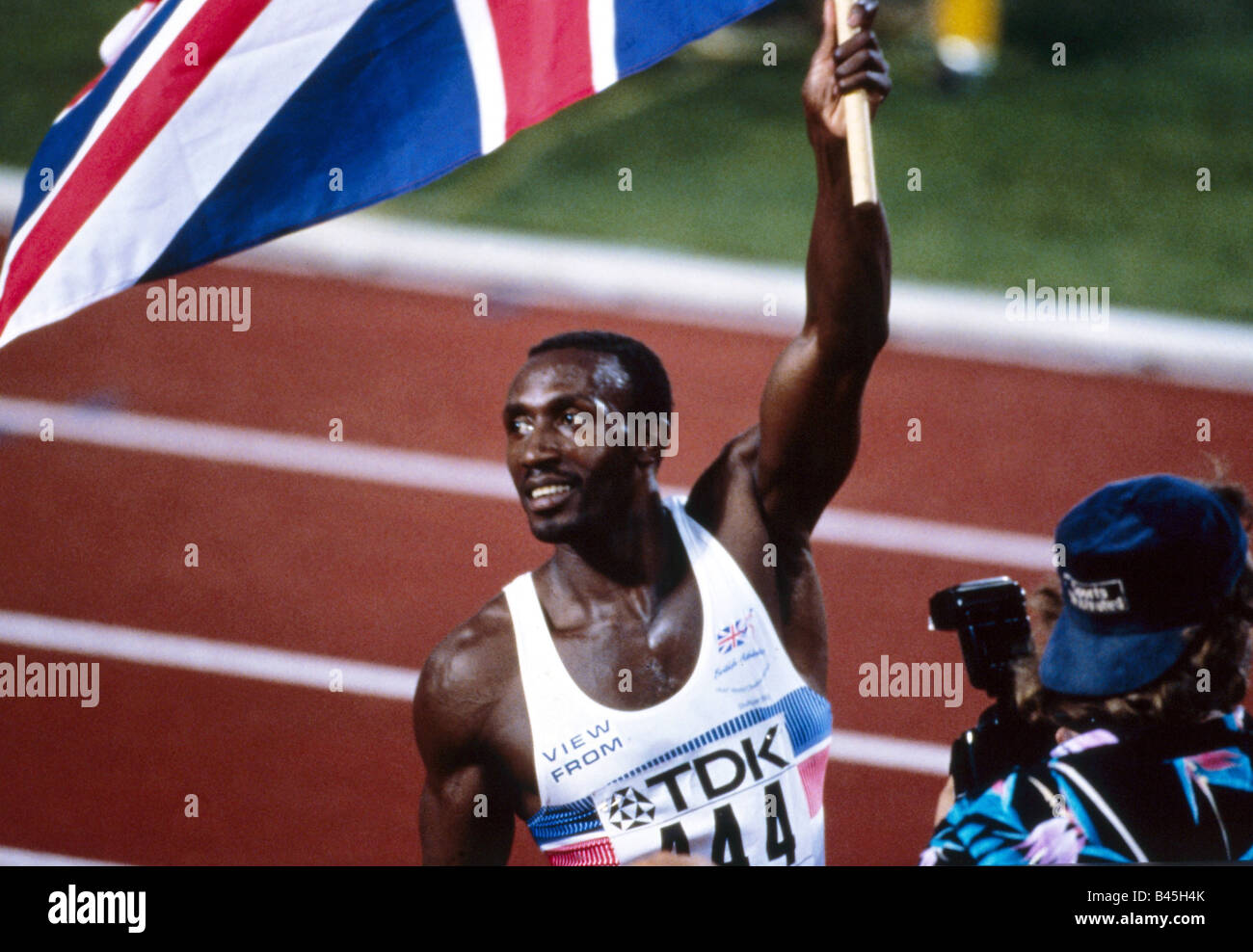 Christie, Linford, * 2.4.1960, Britain athlete (athletics), portrait, world championship, Stuttgart, 1993, Additional - Stock Image