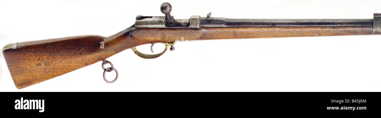 weapons, firearms, rifles, Prussia, needle gun, carbine M 1857, Dreyse system, produced at Herzberg 1870, breech - Stock Image