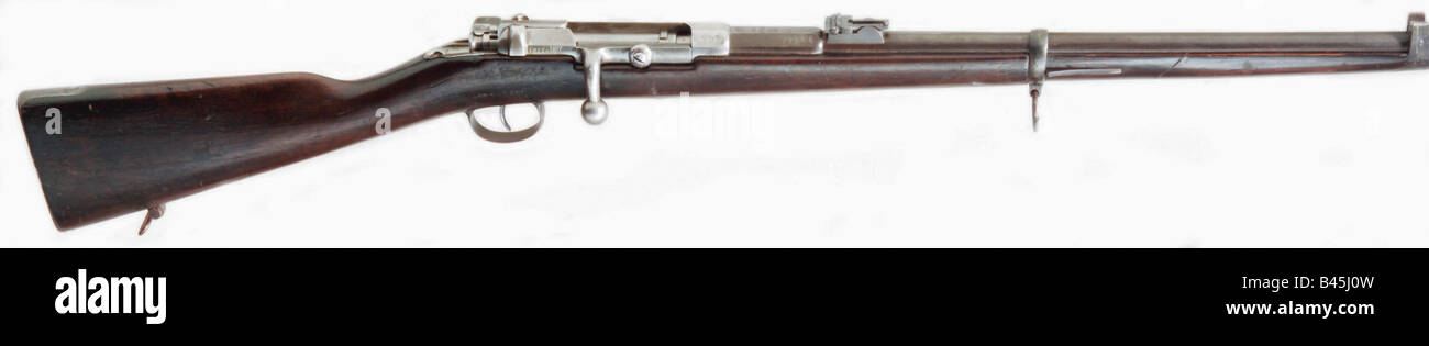 weapons, firearms, rifles, Prussia, carbine, needle gun M 1870, Dreyse system, produced at Suhl 1877, breech loader, - Stock Image