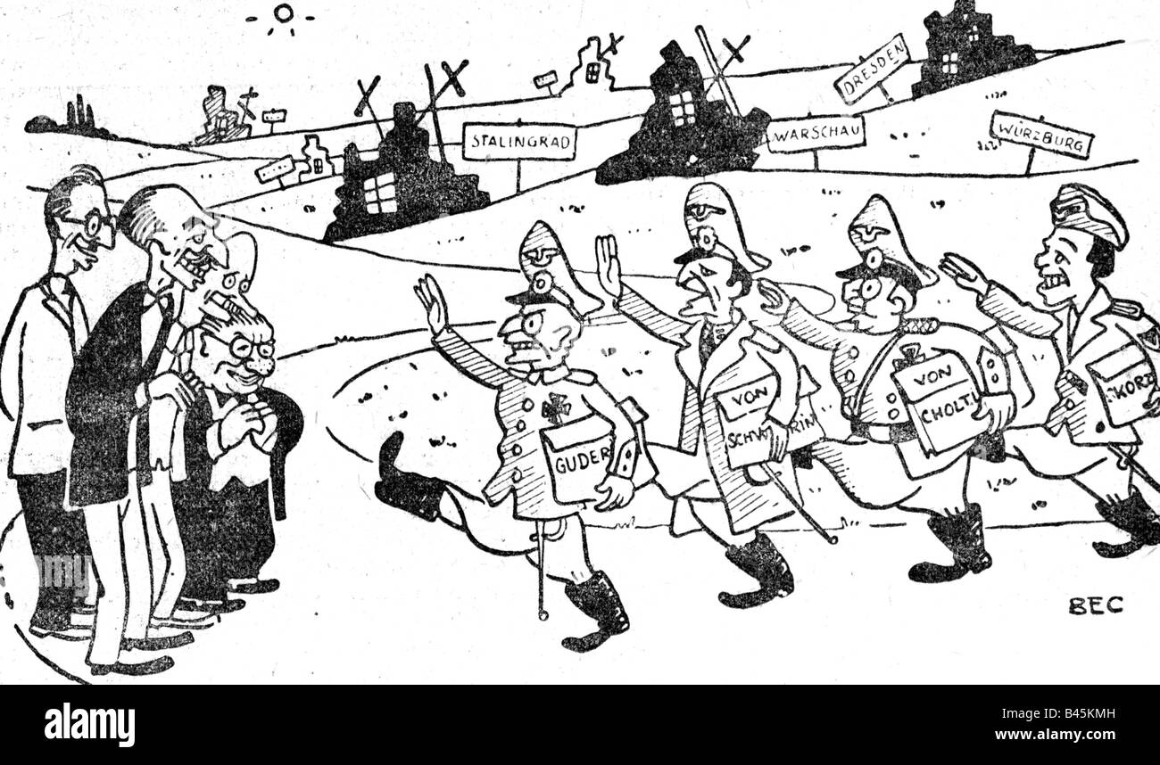 military, caricature, return of former Wehrmacht officers to the armed forces, drawing by Bec, 'L'Humanite', - Stock Image