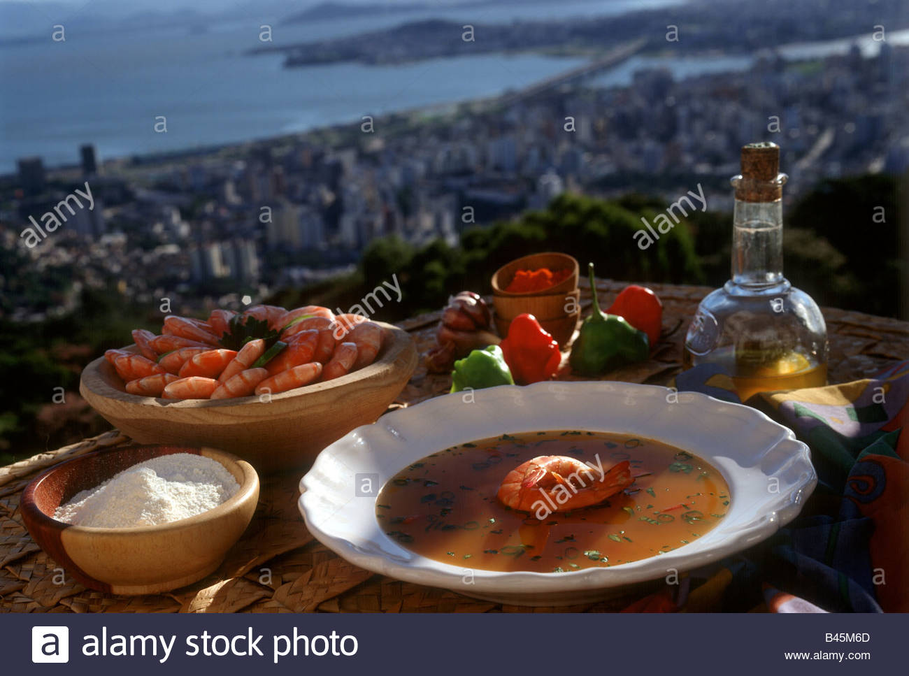 Caldo De Camaroes Shrimp Broth With Manioc Meal Brazil Stock Photo