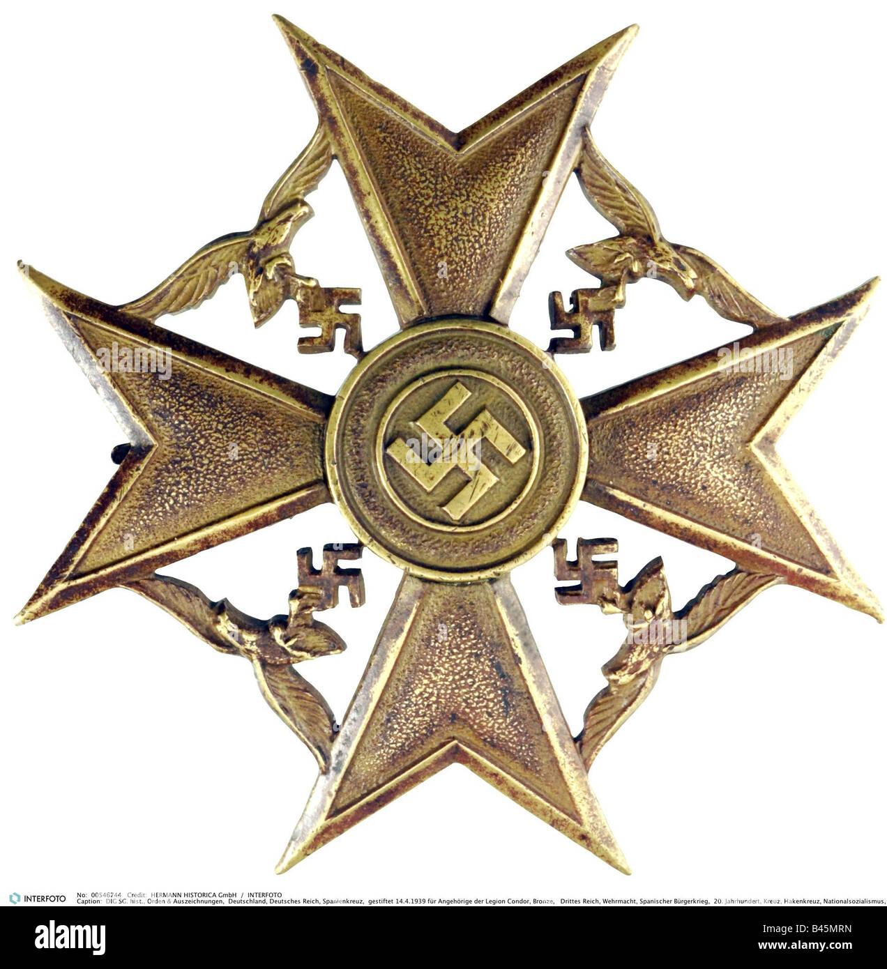 decorations, Nazi Germany, German Empire, Spanienkreuz (Spanish Cross),  instituted 14.4.1939 for members of the - Stock Image