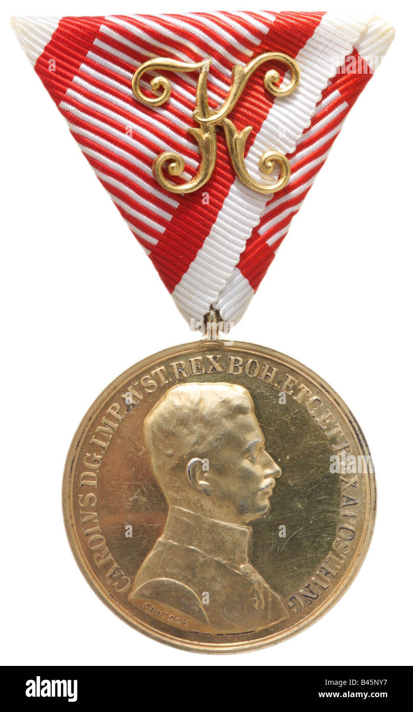 decorations, Austria-Hungary, Golden Medal of Courage, issue 1917 - 1918, decoration, , Additional-Rights-Clearances - Stock Image