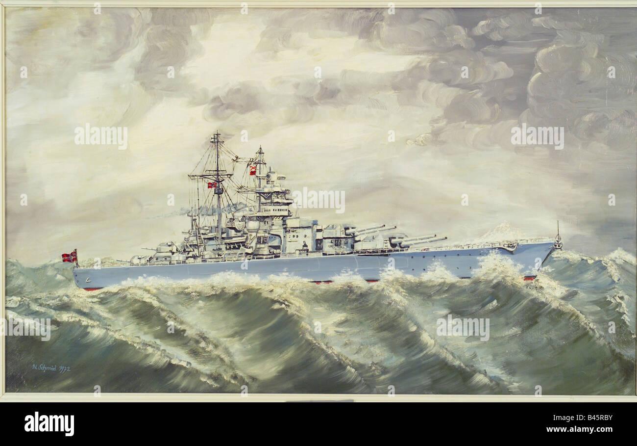 transport/transportation, navigstion, warships, Germany, battelship 'Bismarck', commissioned 18.8.1940, - Stock Image