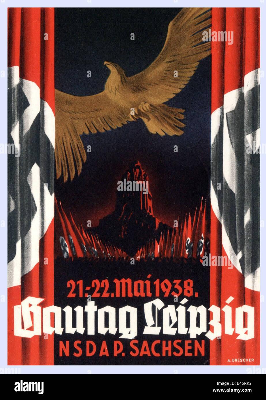 Nazism/National Socialism, propaganda, poster, district meeting of NSDAP in Saxony, 21.- 22.5.1938, Nazi Germany, - Stock Image