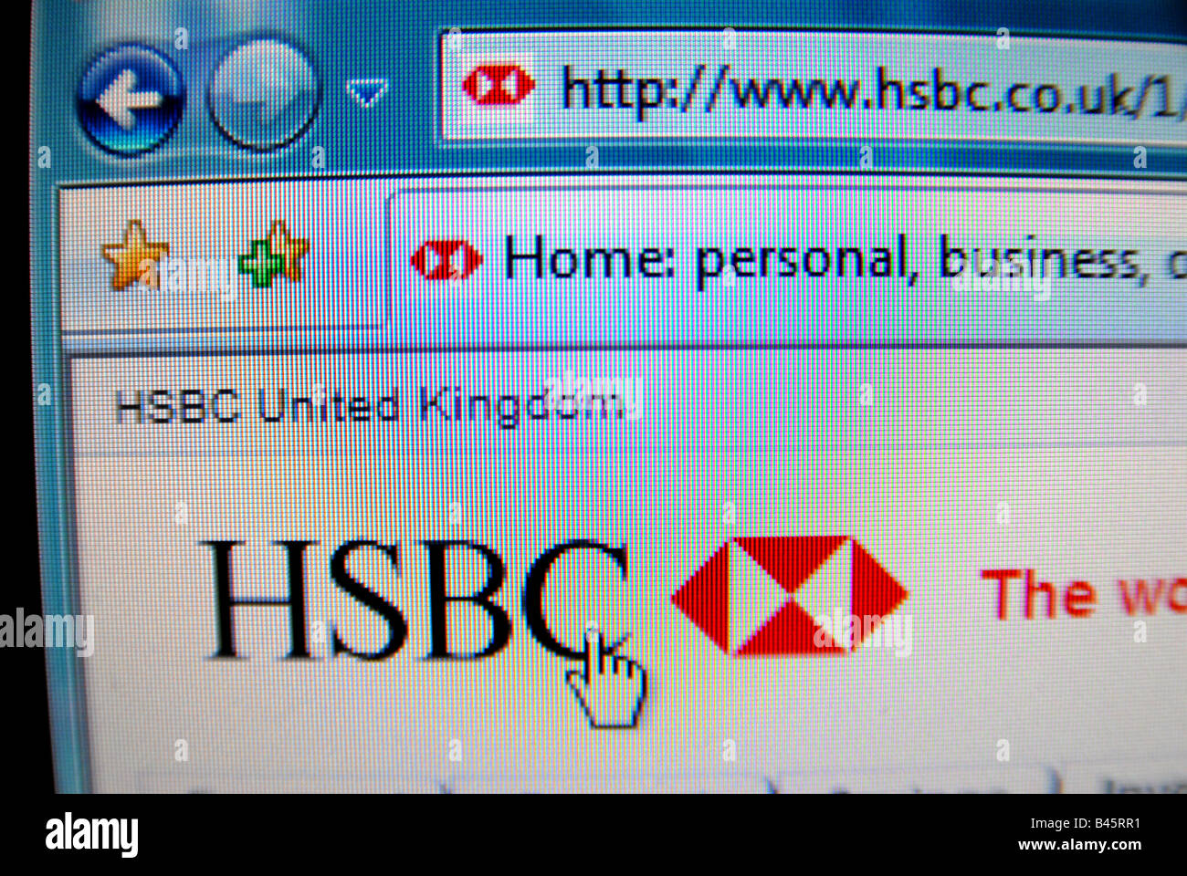 The HSBC banks website, creative focus/composition Stock