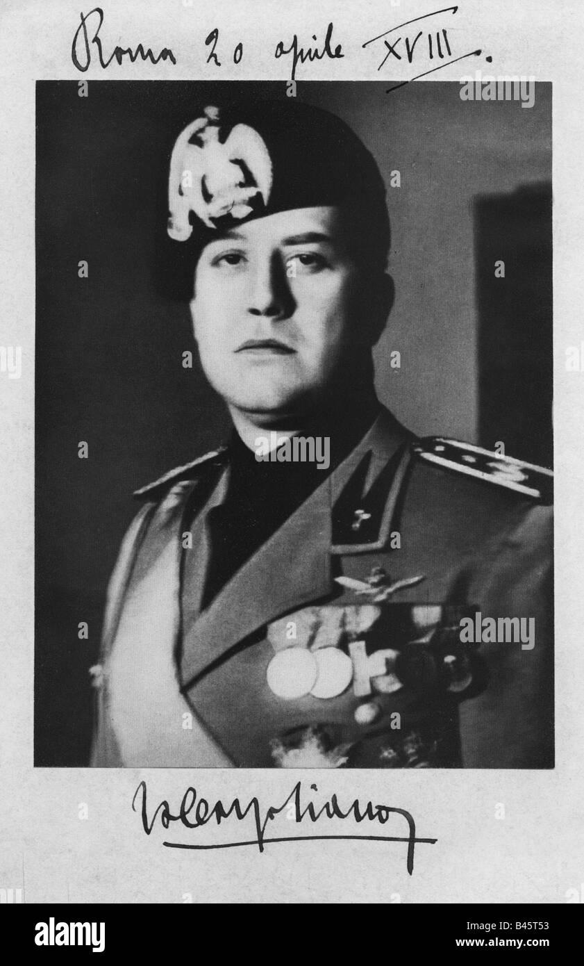 Ciano Conte di Cortellazzo, Galeazzo, 18.3.1903  - 11.1.1944, Italian politician (PNF), Secretary of Foreign Affairs - Stock Image