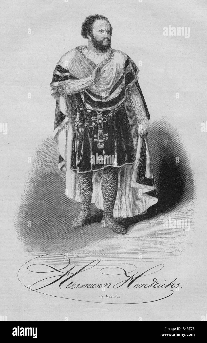 Hendricks, Herrmann, 17.10.1809 - 1.11.1871, German actor, full length, engraving, 19th century, Additional-Rights - Stock Image
