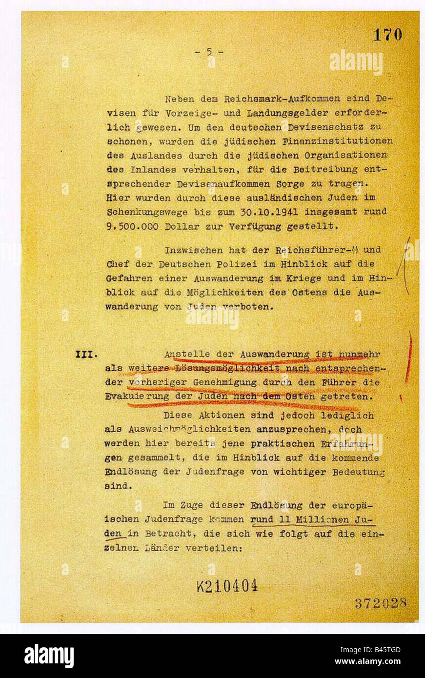 National Socialism/Nazism, crimes, persecution of jews, Wannsee conference, 20.1.1942, protocol, page 5, nazi, Holocaust, Stock Photo