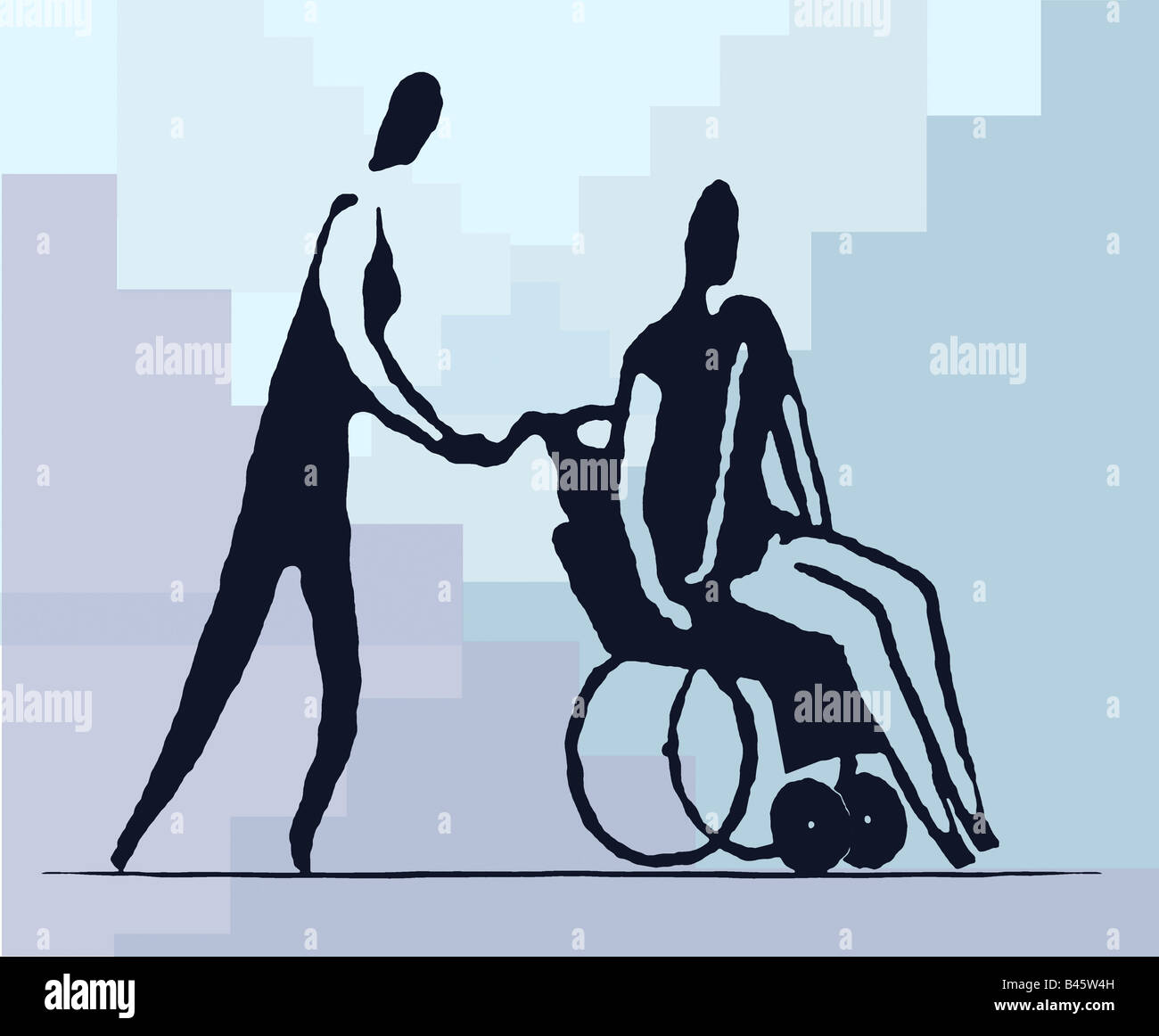 Man moving wheelchair - Stock Image